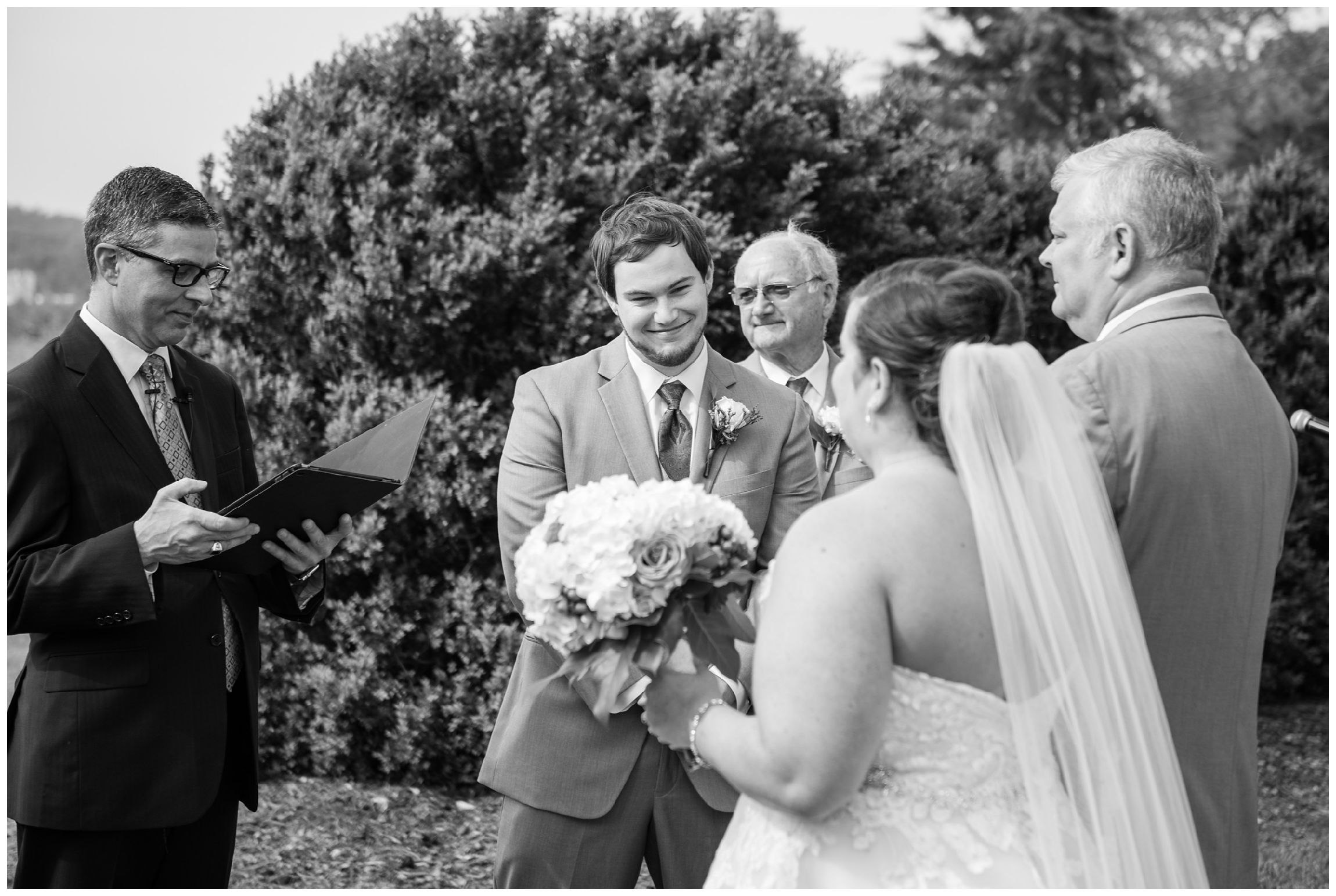 bride enters during rustic Virginia wedding at Wolftrap Farm