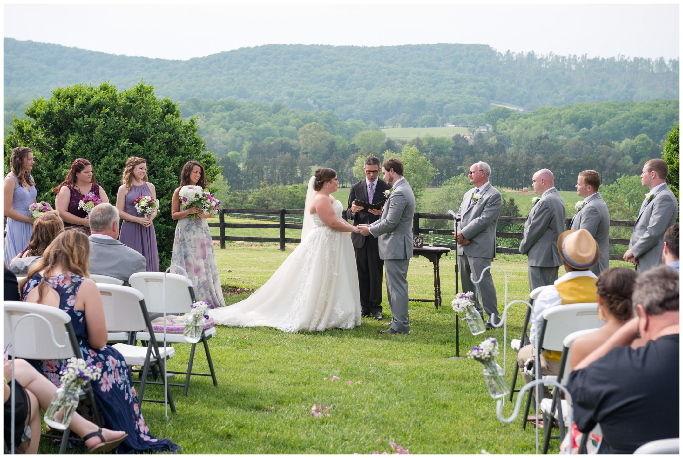 rustic spring wedding with mountain views at Wolftrap Farm in Gordonsville, Virginia