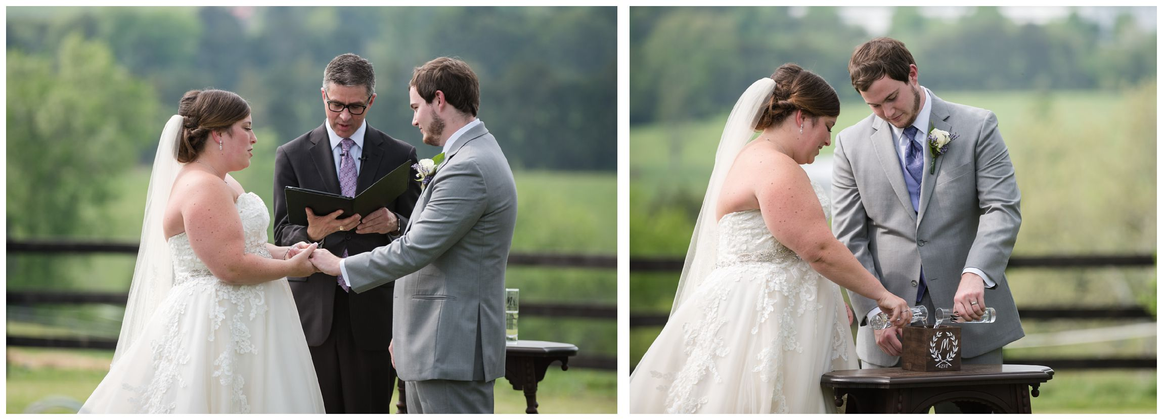 bride and groom during wedding at Wolftrap Farm in Gordonsville, Virginia