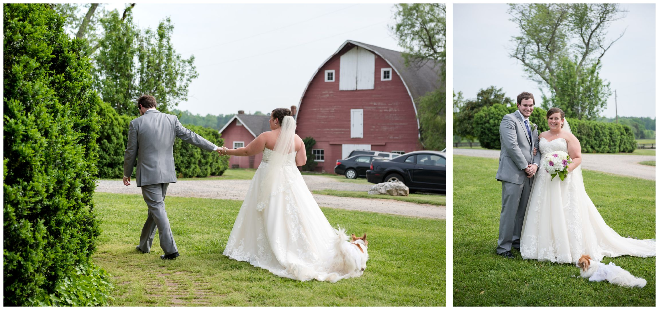 newlyweds after rusting farm wedding in Virginia