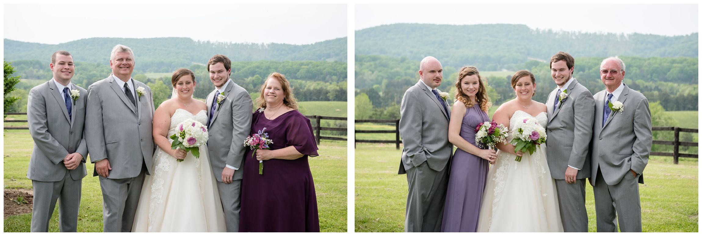 family portraits at rustic wedding at Wolftrap Farm