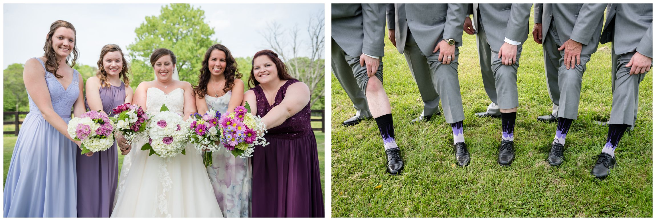 bouquets and socks of bridal party