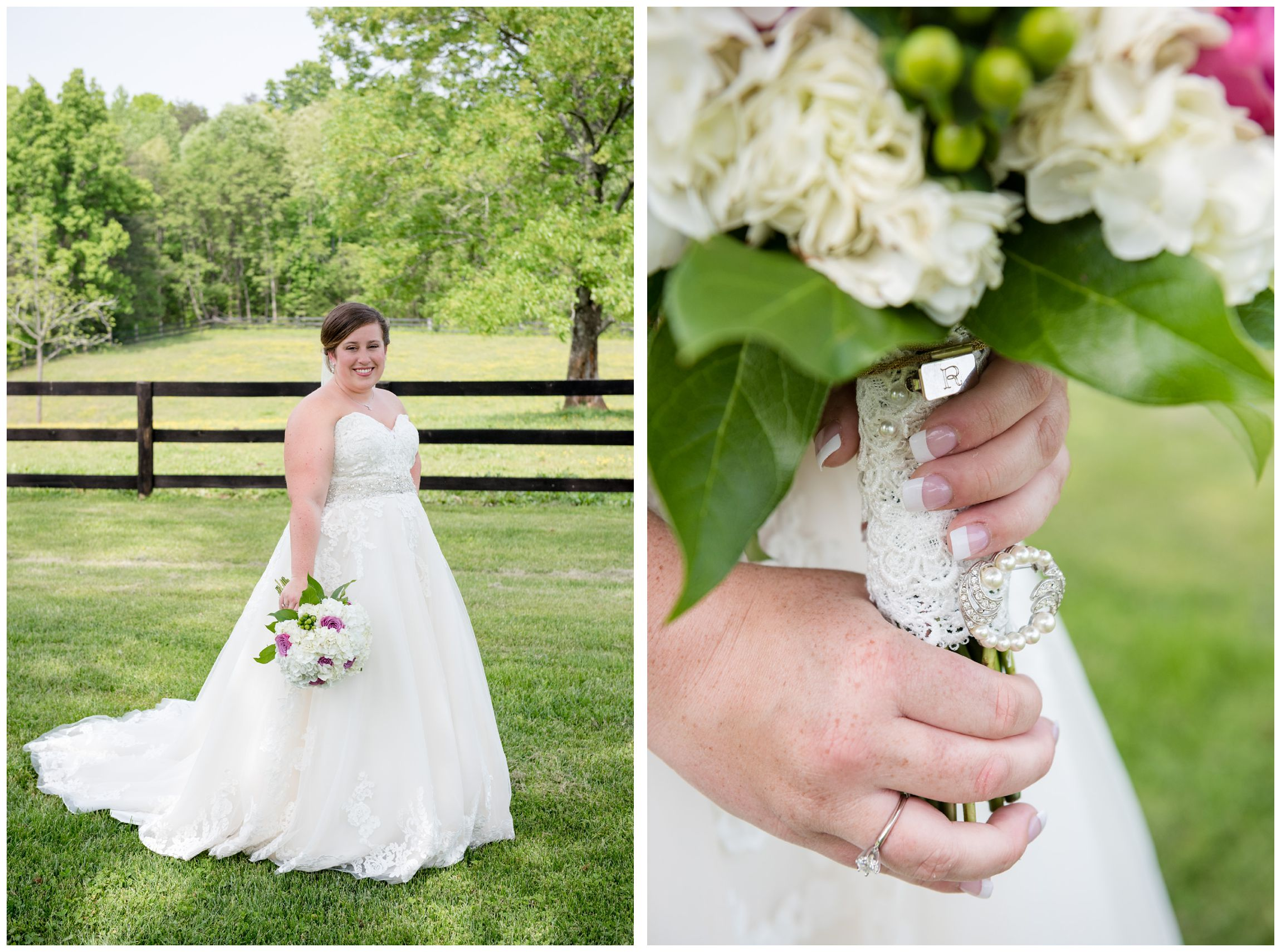 bride with sentimental charms on bouquet