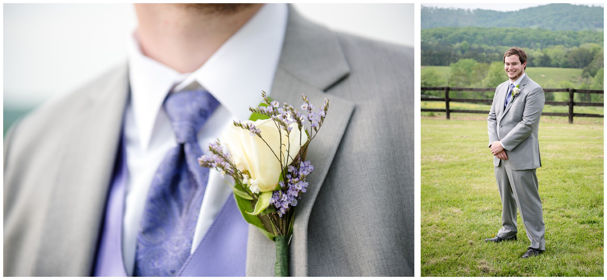 groom with purple tie and boutonniere