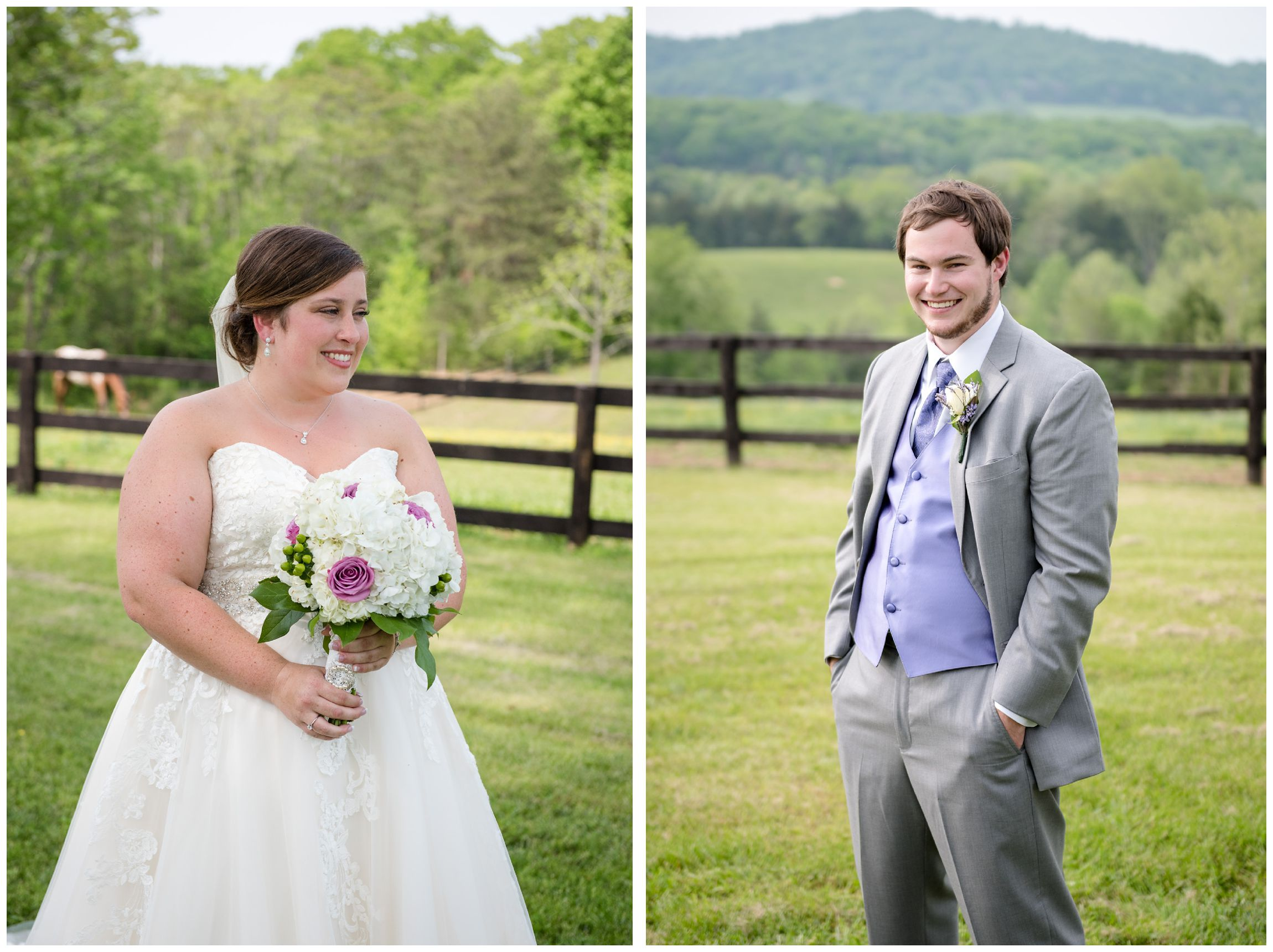 bride and groom at beautiful farm wedding in Virginia mountains