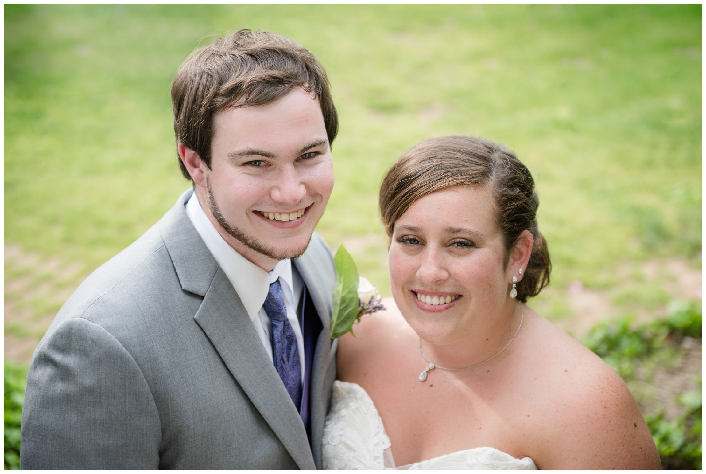 bride and groom portrait on wedding day at Wolftrap Farm