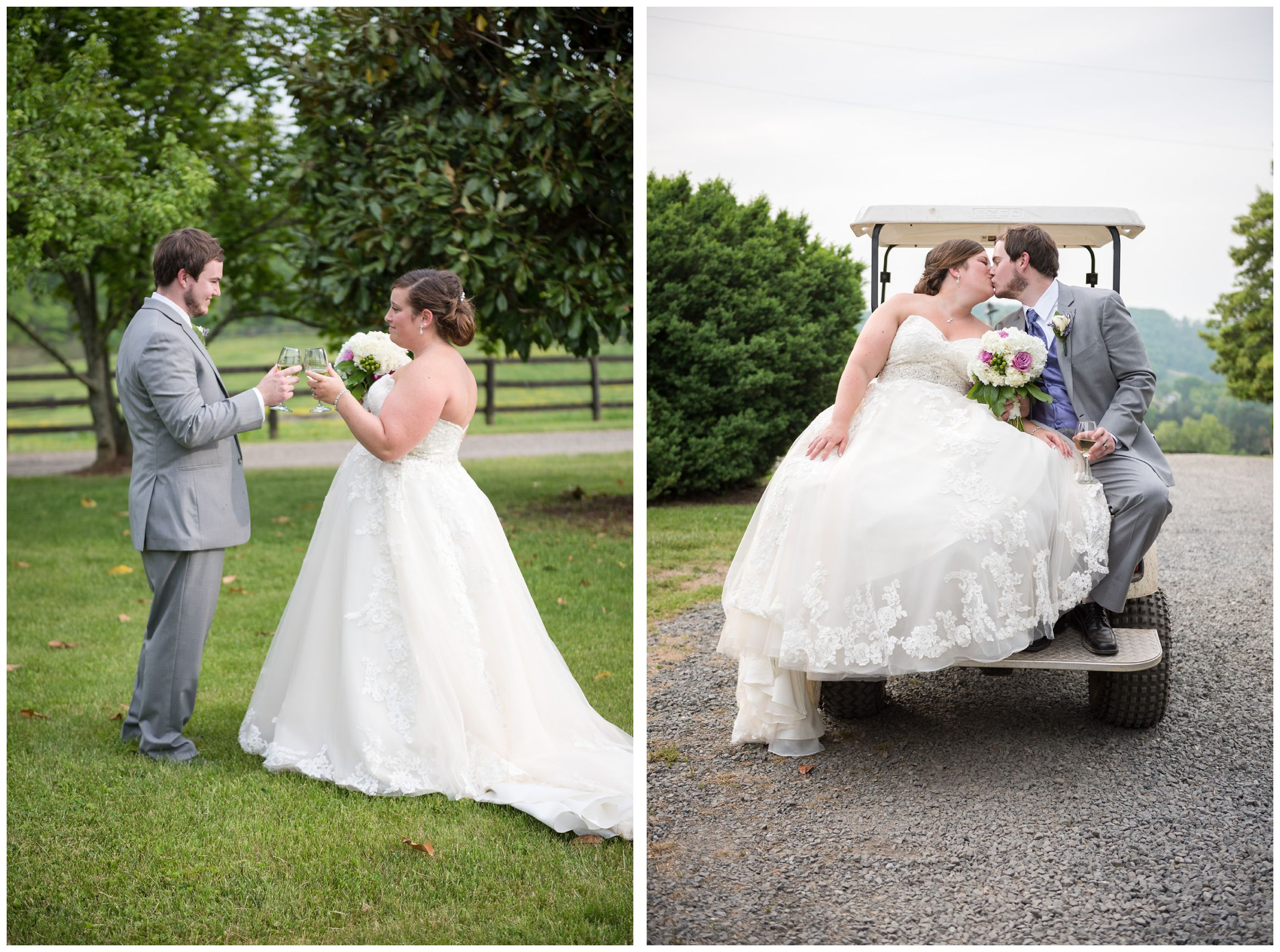 bride and groom toasting and riding golf cart to reception at Wolftrap Farm