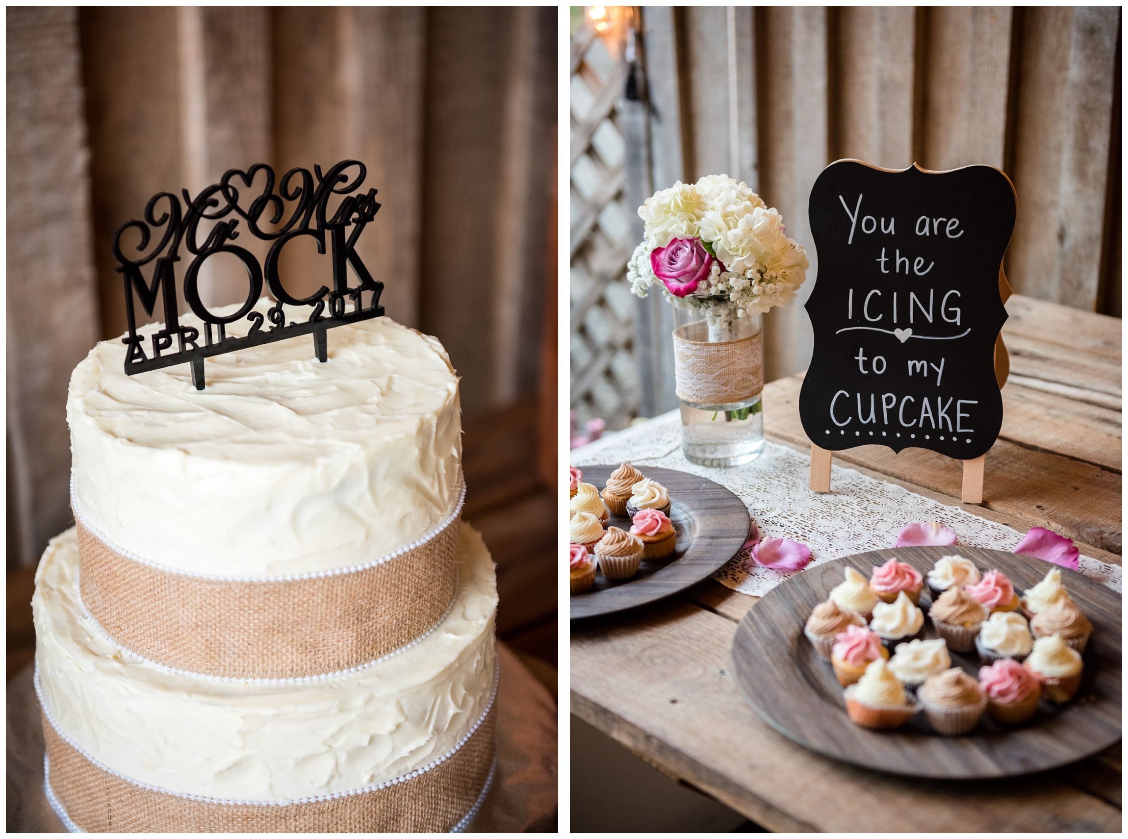 cake with burlap decor and cupcakes at rustic farm wedding reception
