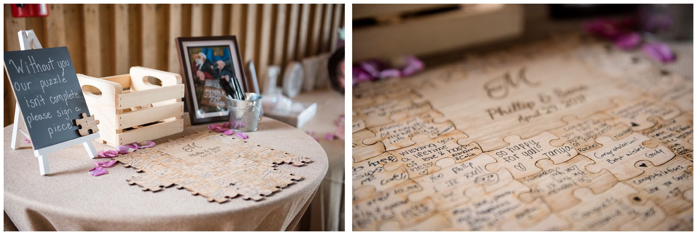 wooden puzzle guestbook at rustic wedding reception in Virginia