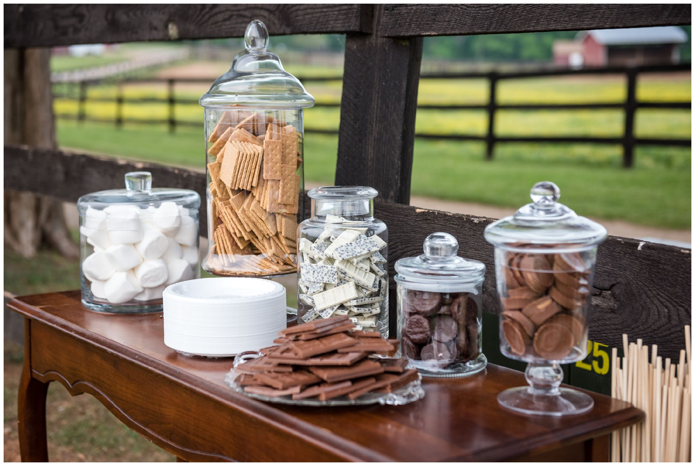s'mores bar at rustic wedding at Wolftrap Farm in Virginia