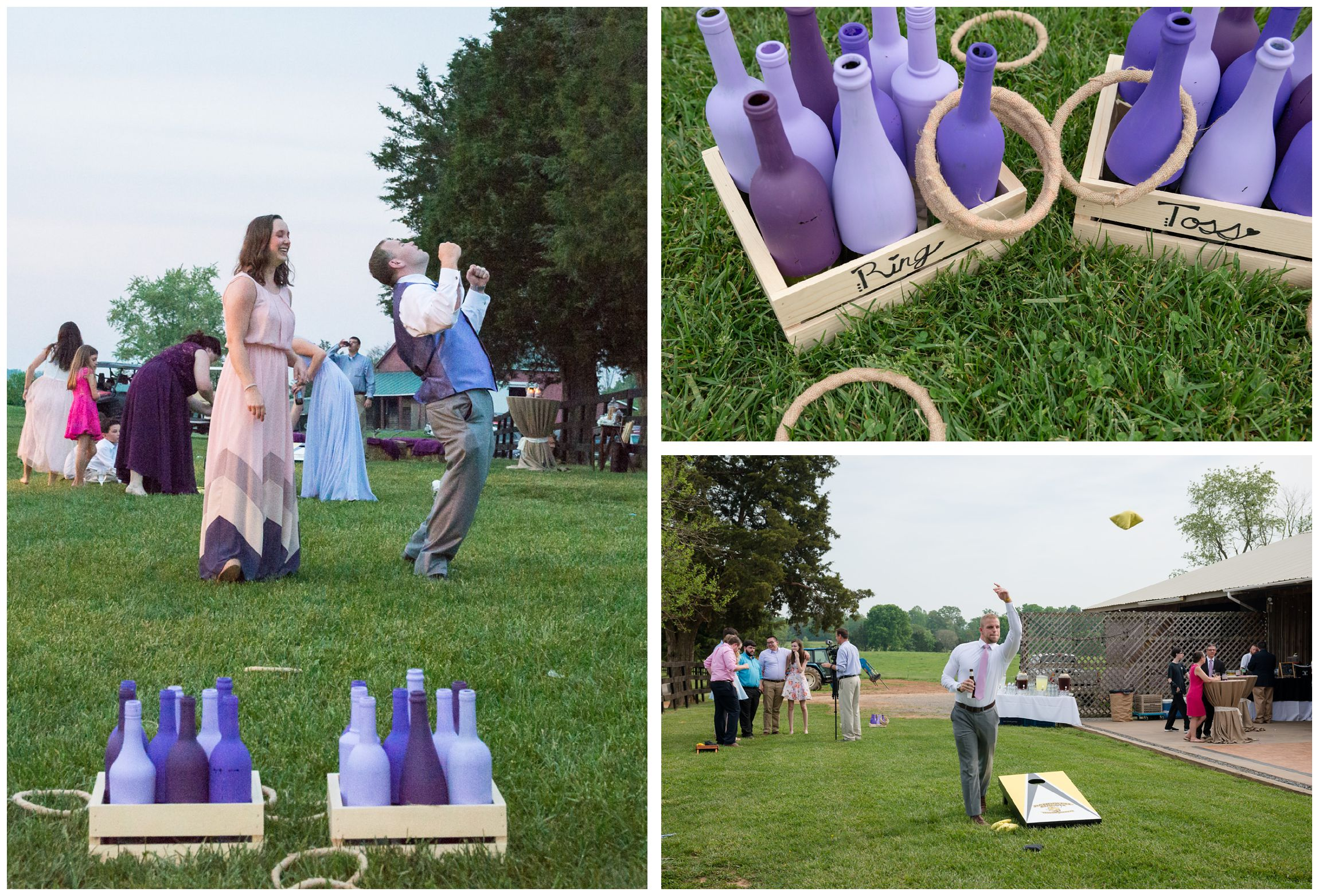 yard games and cornhole during farm wedding reception