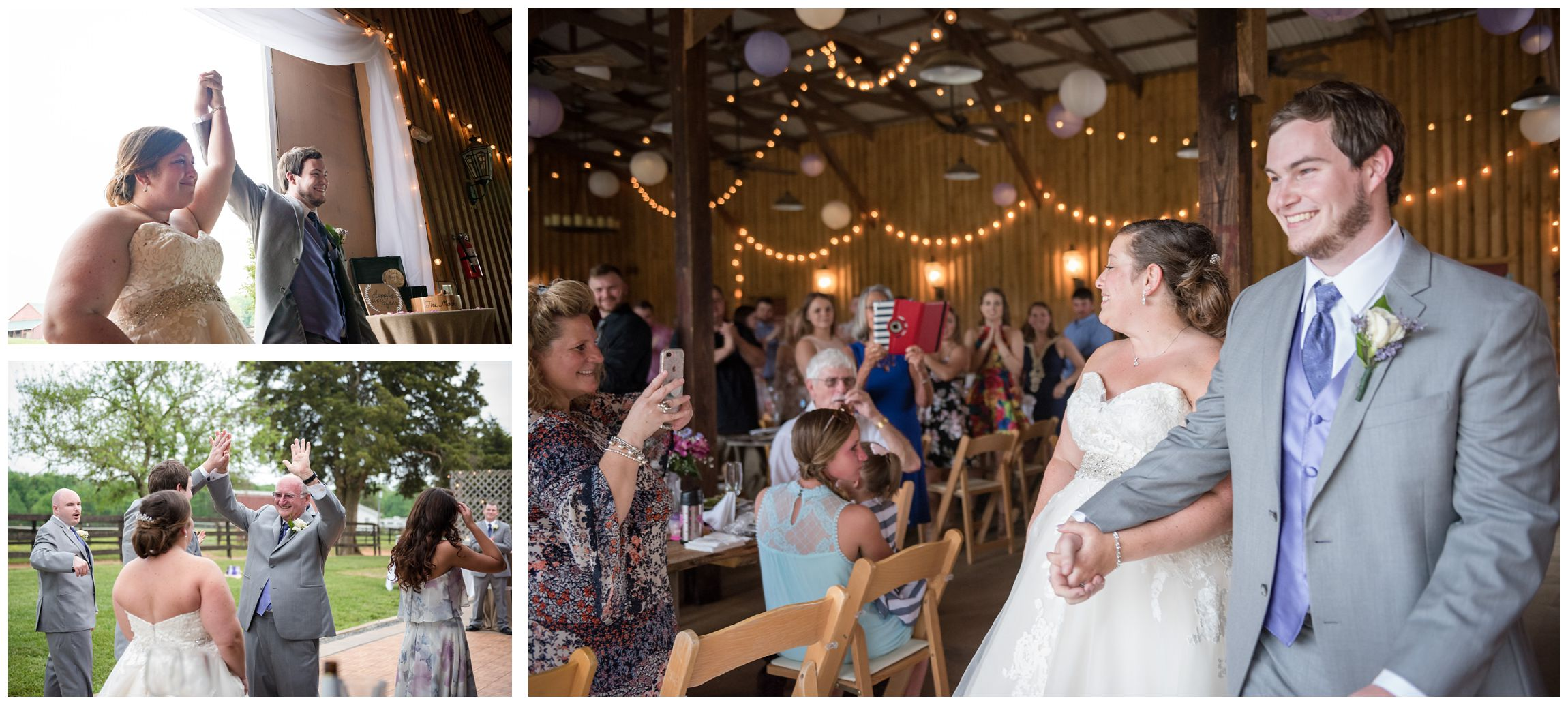 rustic Virginia wedding reception in barn at Wolftrap Farm