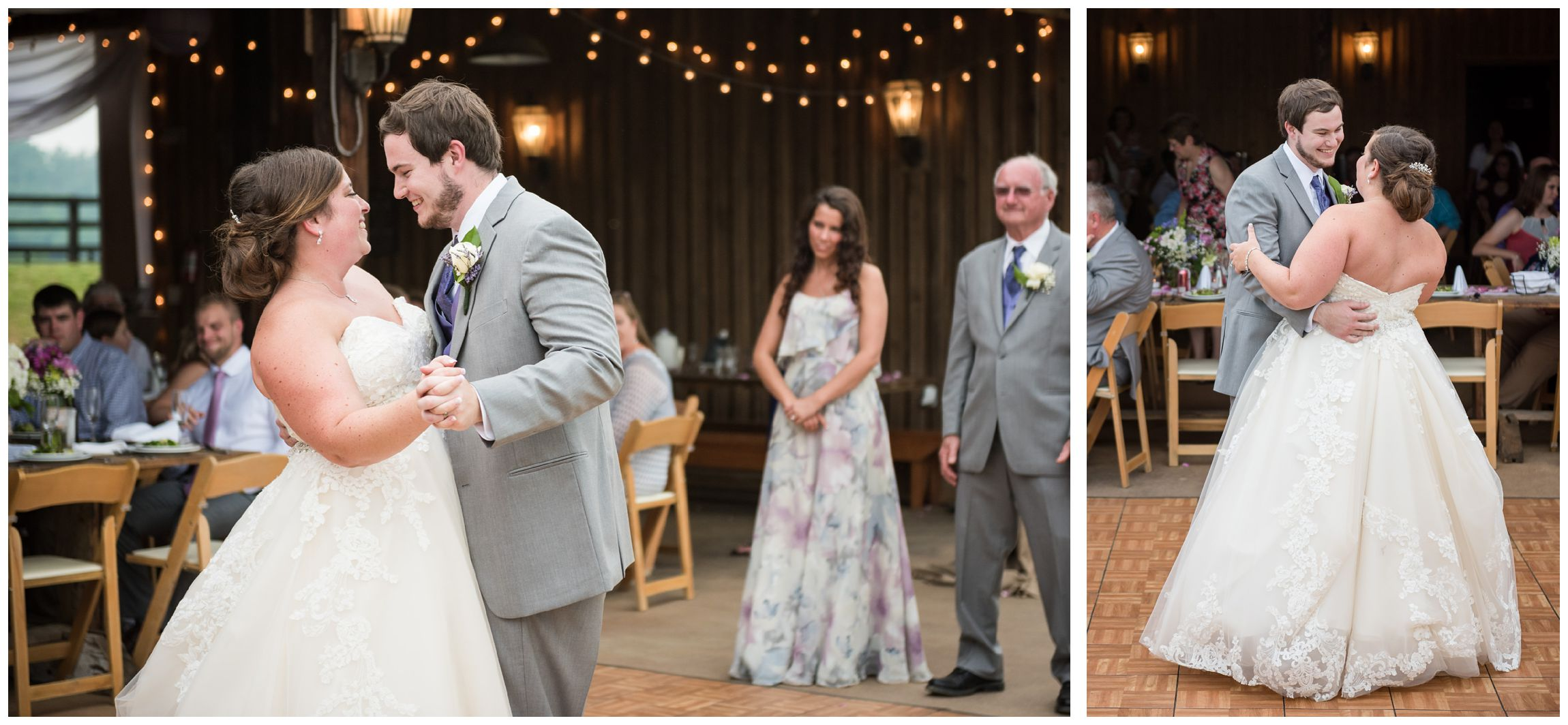 bride and groom sharing first dance at rustic barn wedding in Virginia