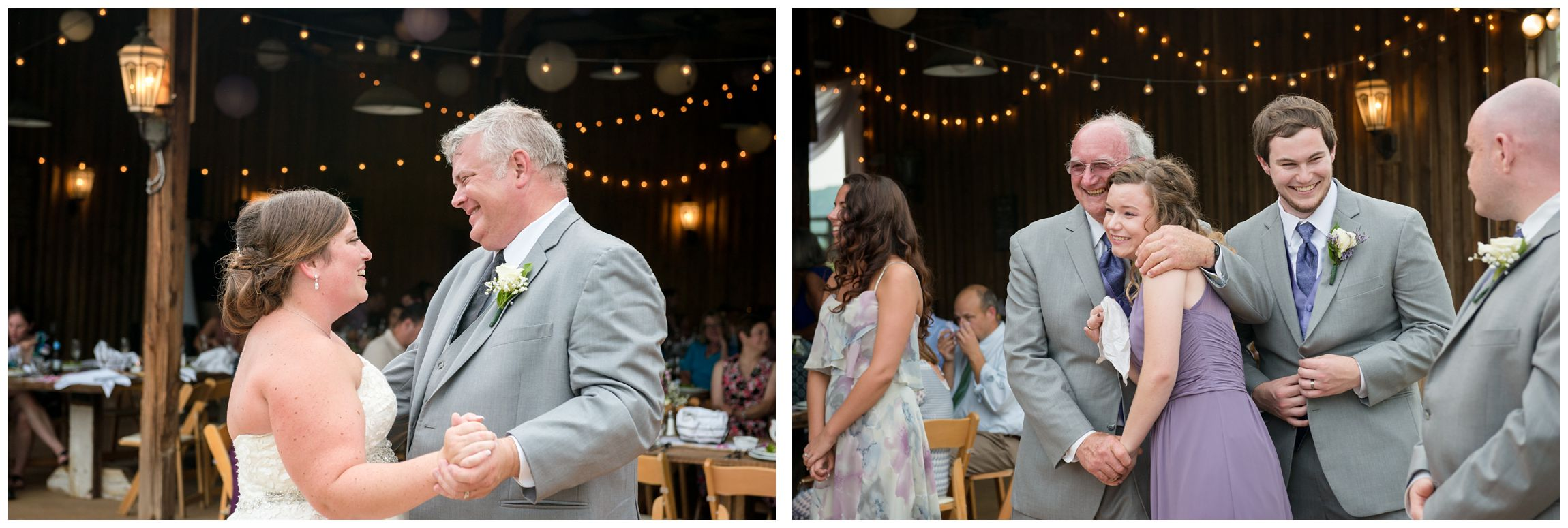 father daughter dance at rustic barn wedding in Virginia