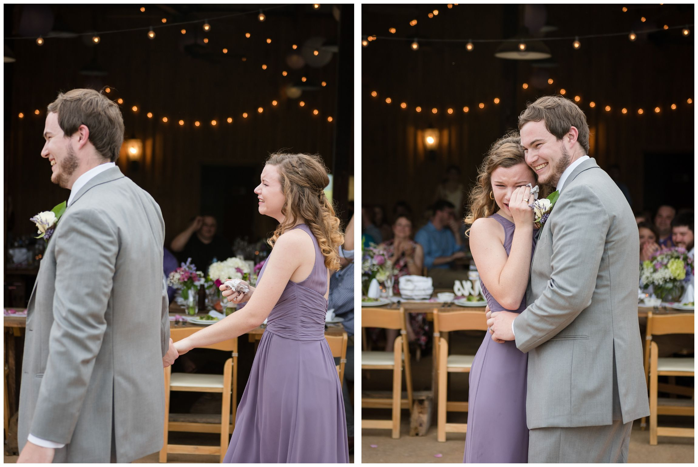 groom and sister dance at rustic barn wedding in Virginia