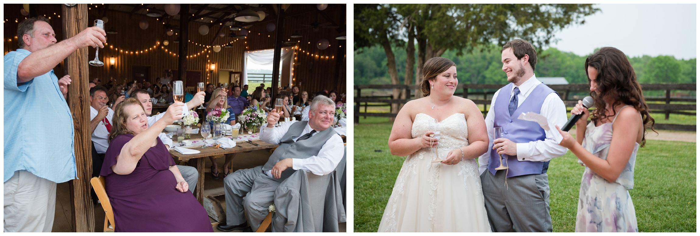 toasts during rustic Virginia wedding at Wolftrap Farm