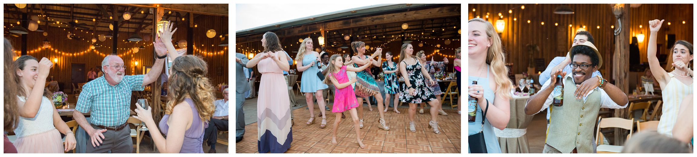 guests dancing at wedding reception in barn at Wolftrap Farm