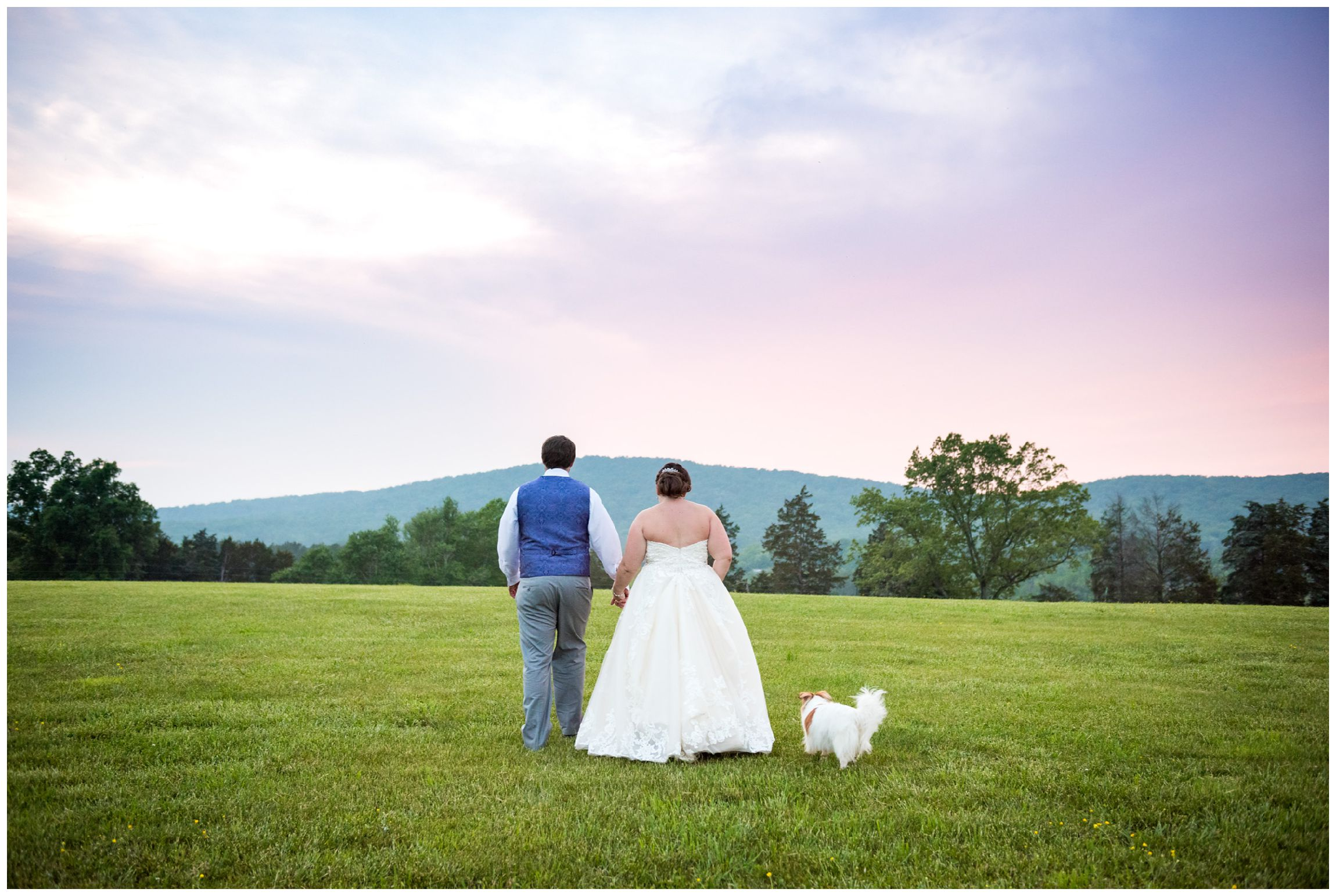 bride and groom at sunset in the mountains after rustic Virginia wedding at Wolftrap Farm