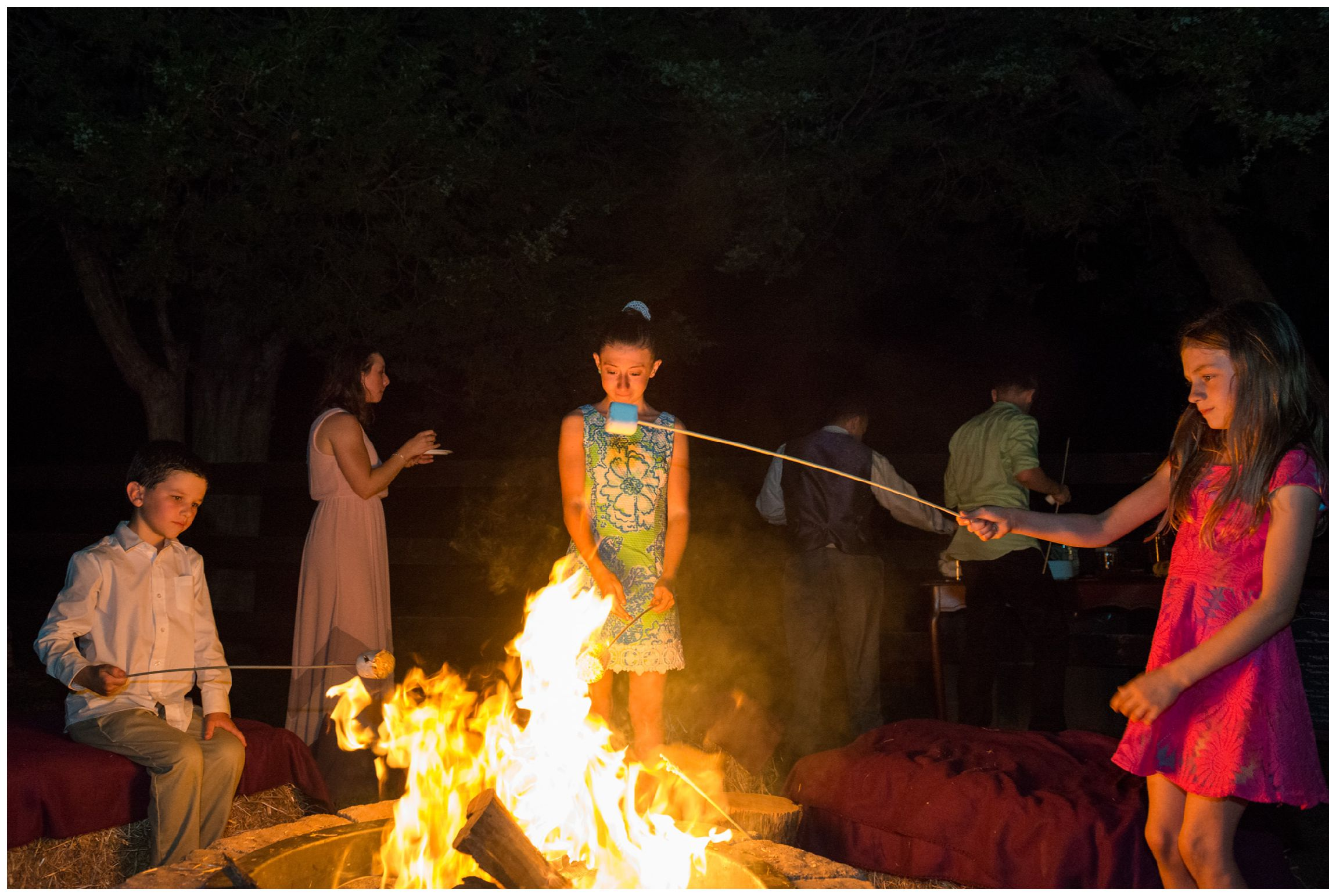 kids make s'mores during rustic farm wedding reception in Virginia
