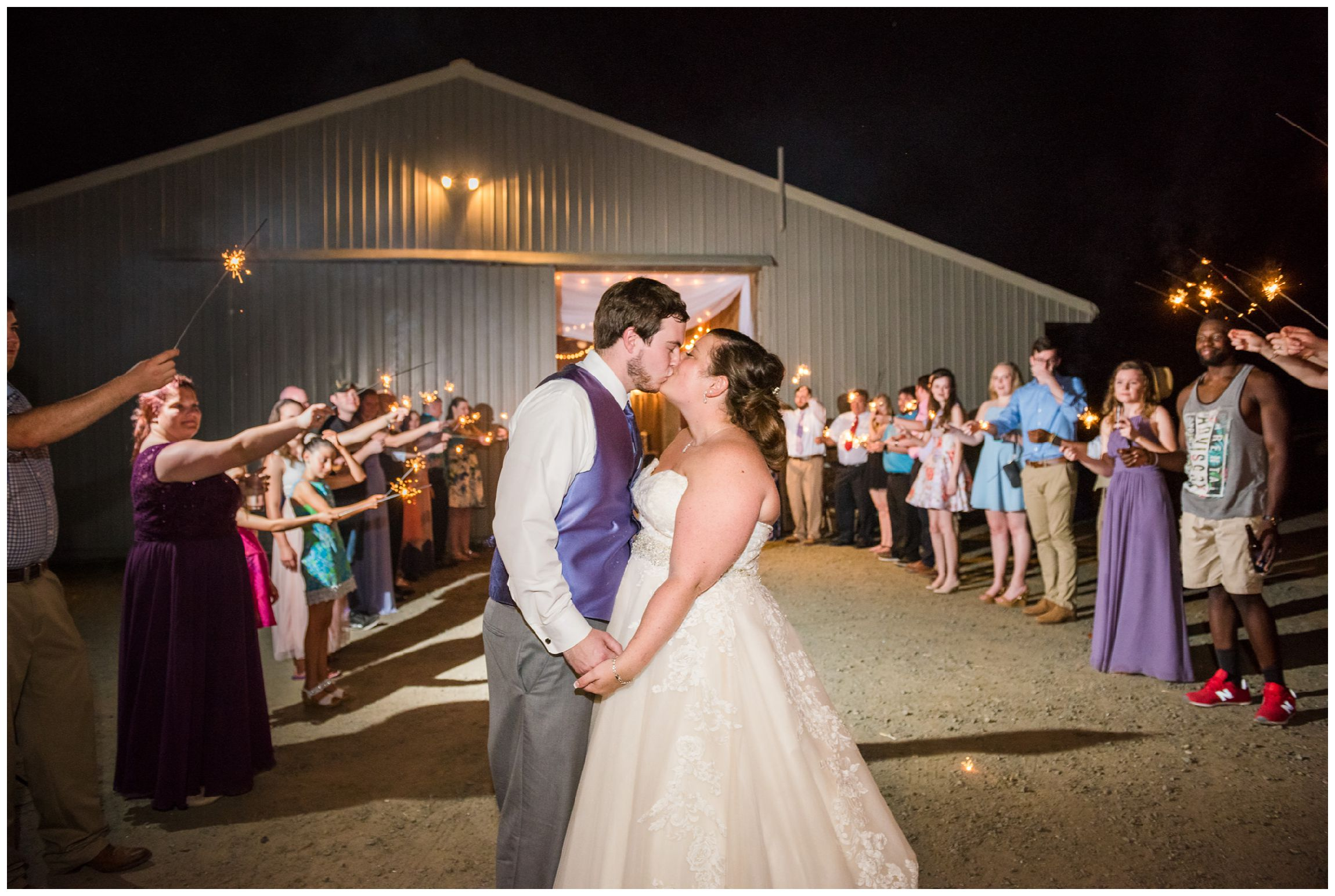 sparkler wedding reception send off at Wolftrap Farm in Gordonsville, Virginia