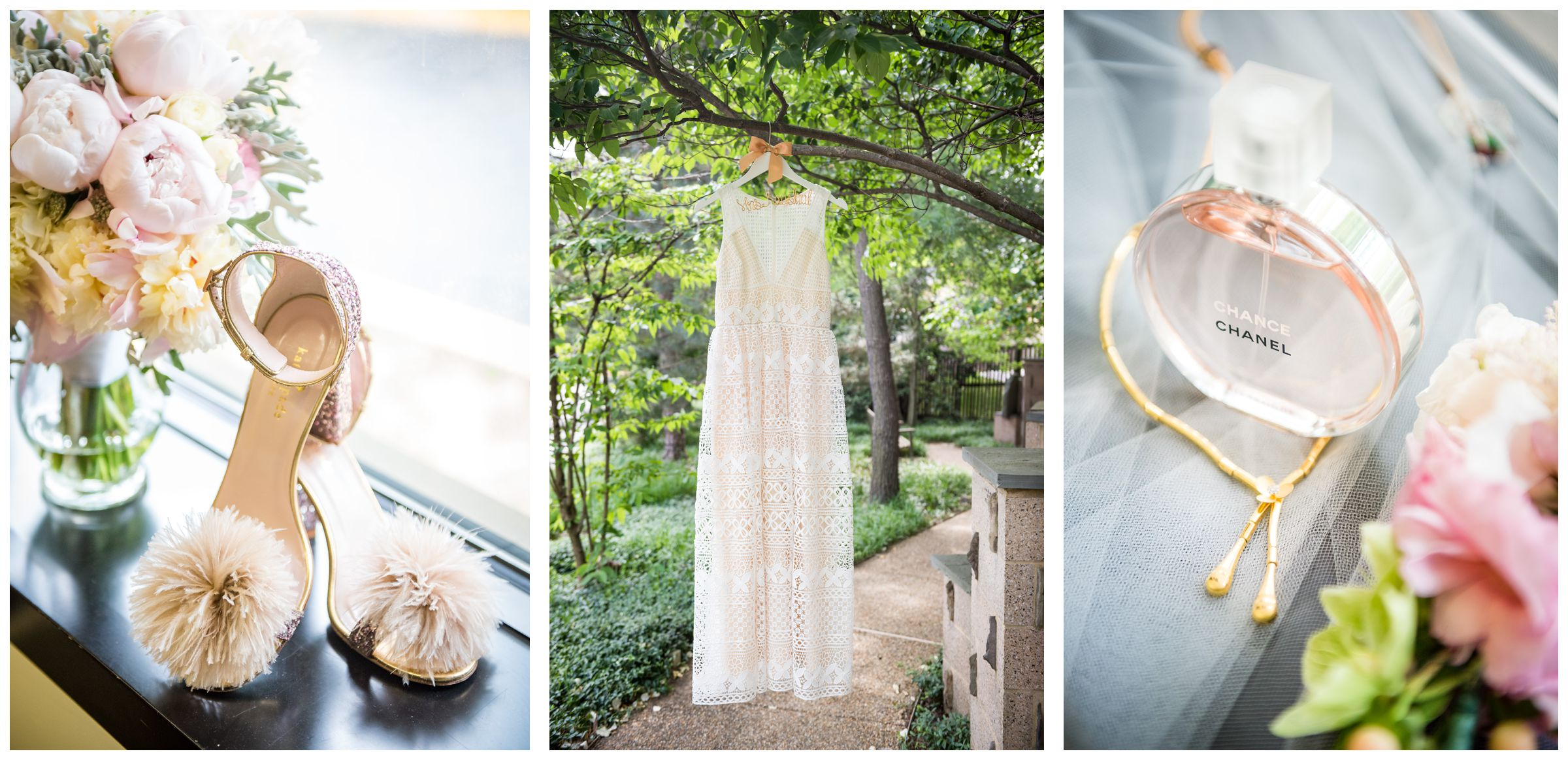BHLDN wedding dress and Kate Spade sparkly pom shoes