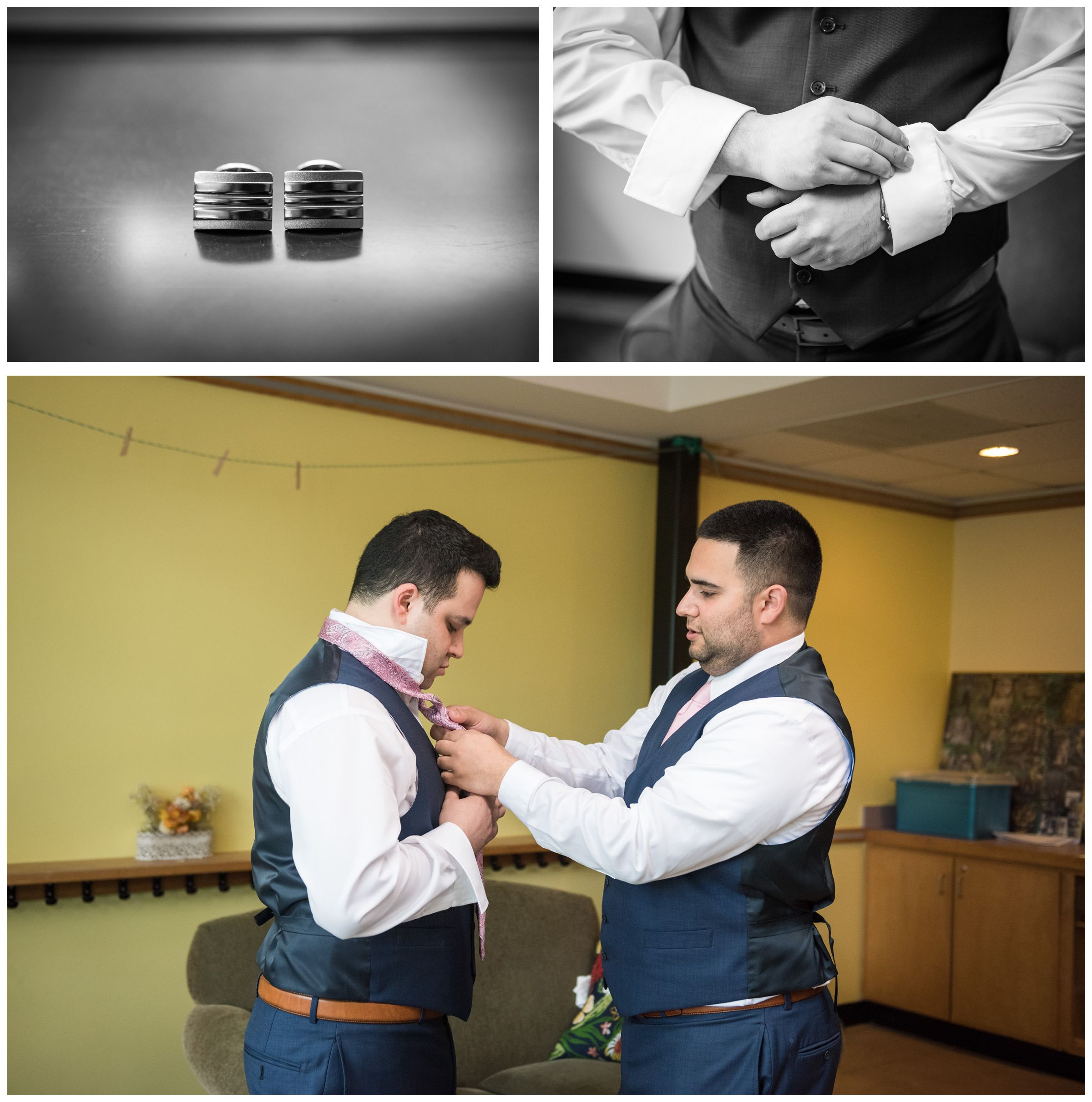 groom getting ready before wedding at the Unitarian Universalist Church in Arlington, Virginia