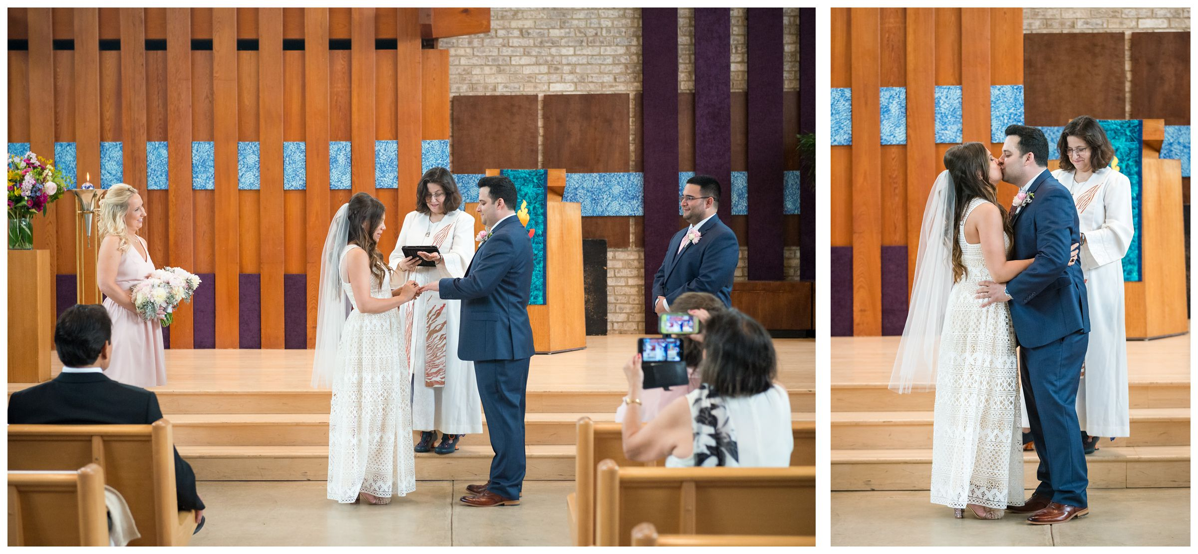 ring exchange and first kiss during wedding ceremony at the Unitarian Universalist Church in Arlington, Virginia