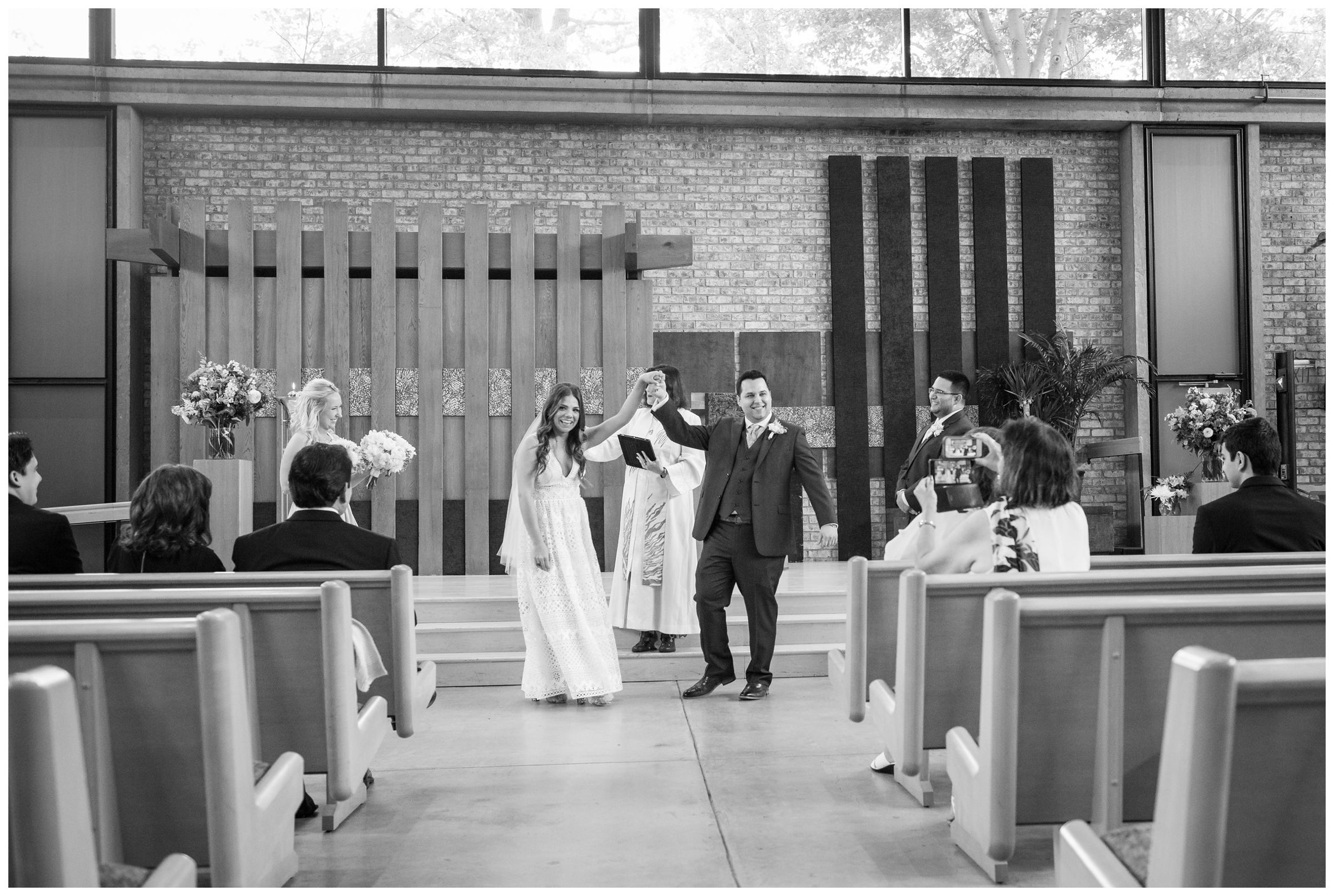 recessional during wedding ceremony at the Unitarian Universalist Church in Arlington, Virginia