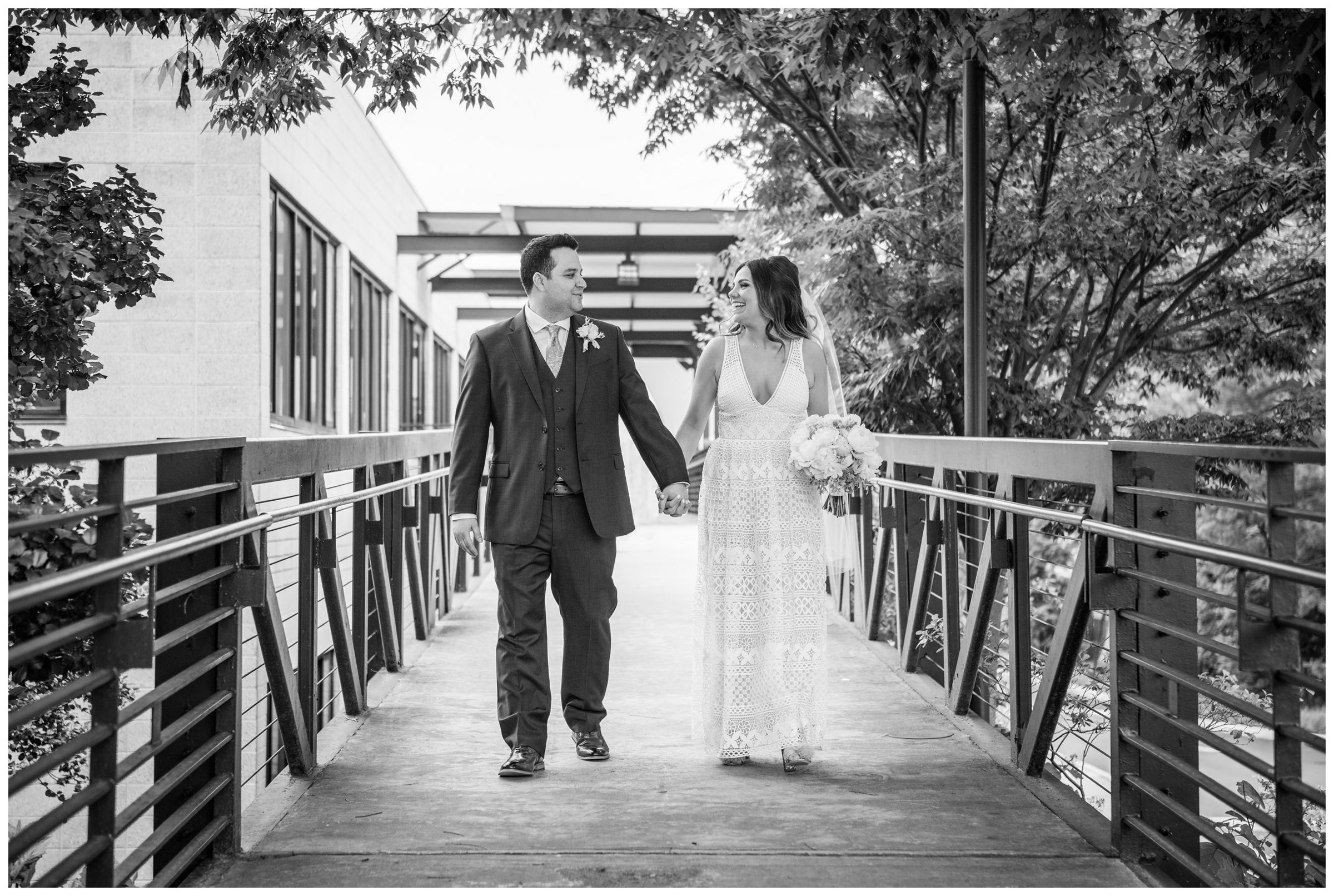 bride and groom exiting church after wedding ceremony at the Unitarian Universalist Church in Arlington, Virginia