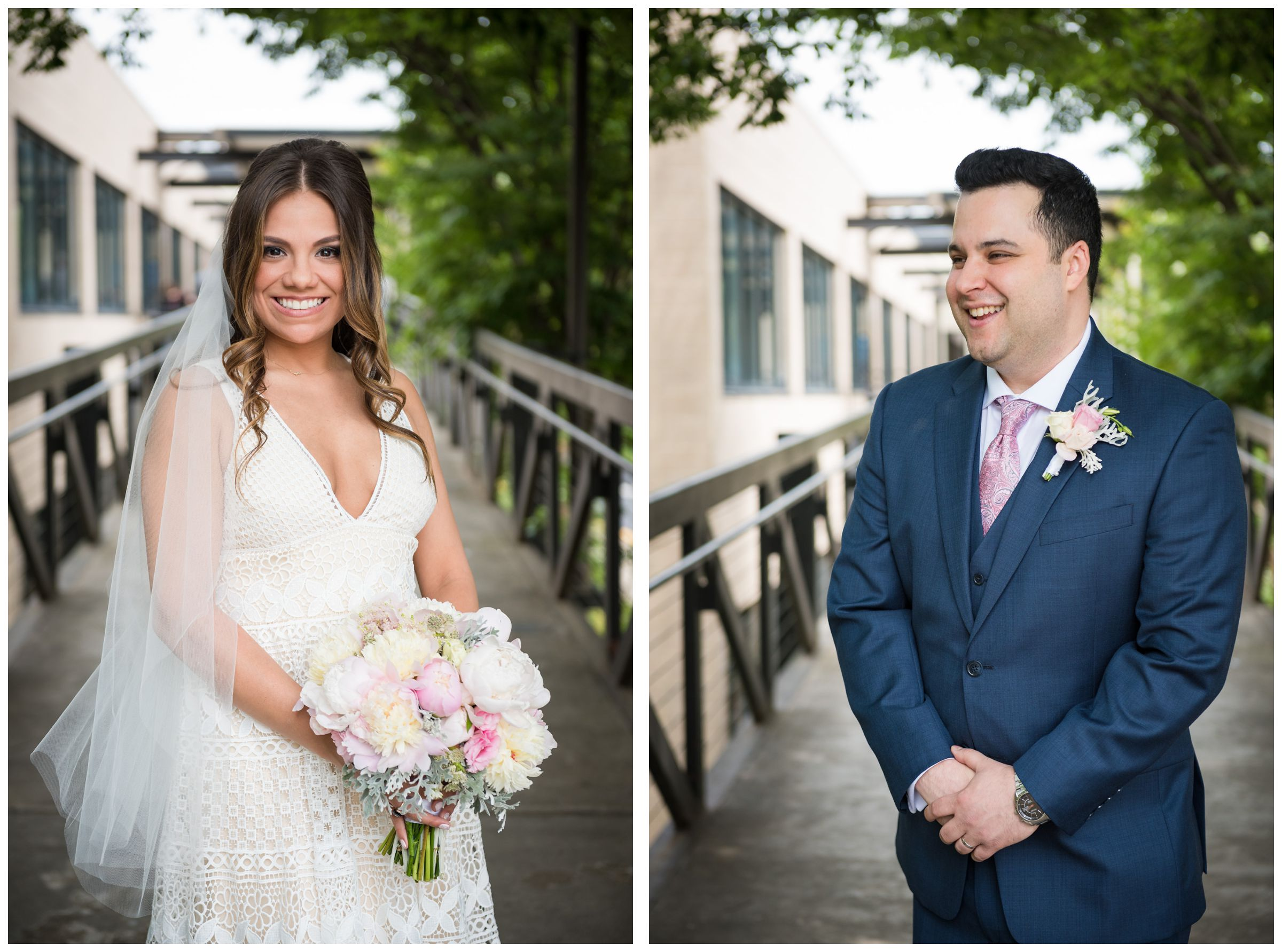 bride and groom portrait after wedding ceremony at the Unitarian Universalist Church in Arlington, Virginia