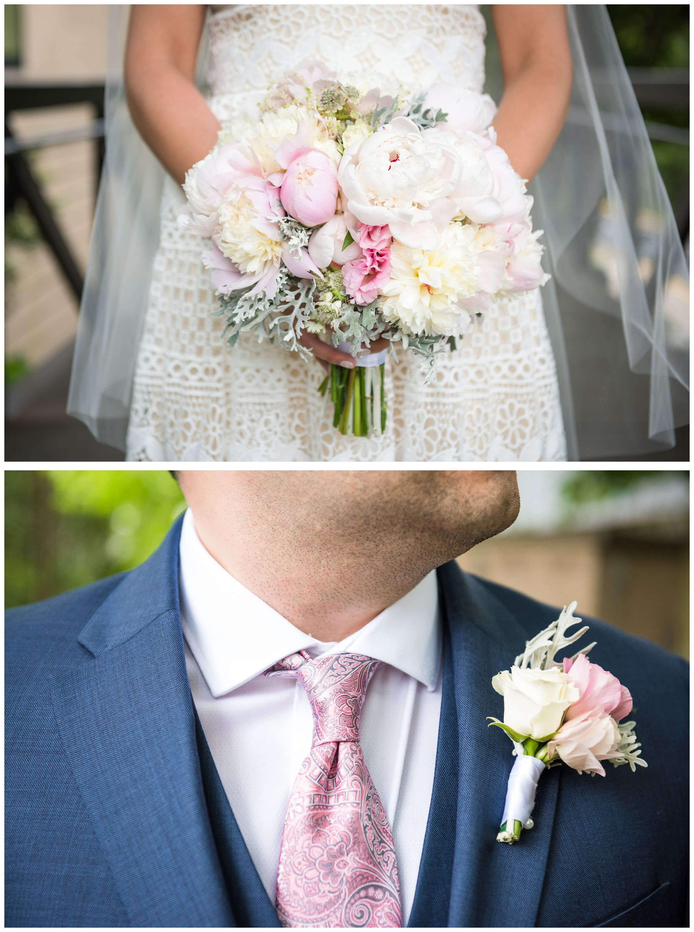 navy and blush wedding accessories including navy Tommy Hilfiger suit, blush tie, and blush peony bouquet