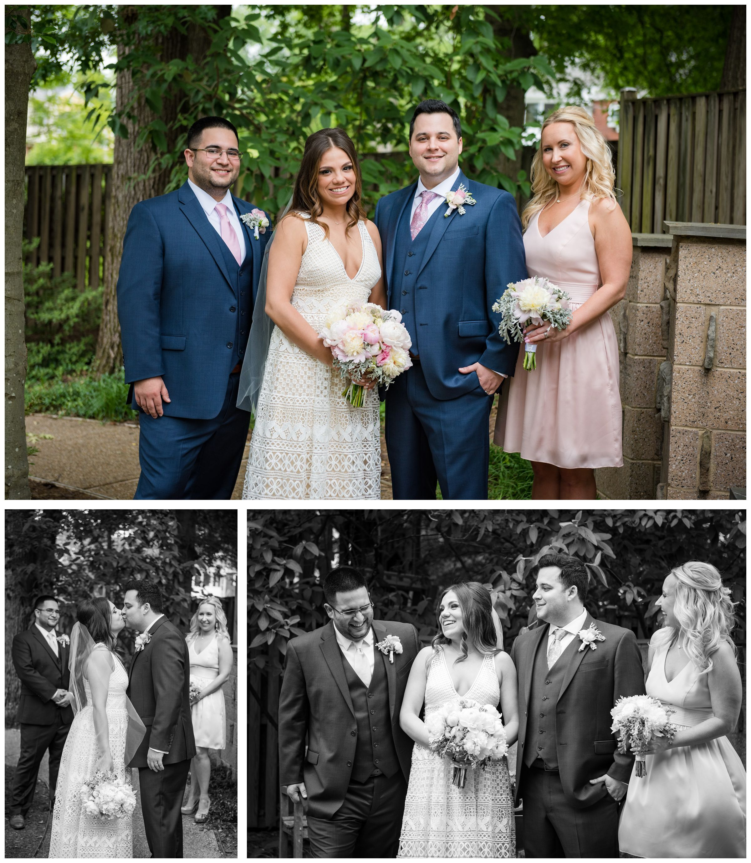 wedding party portraits in garden bride and groom portrait after wedding ceremony at the Unitarian Universalist Church in Arlington, Virginia
