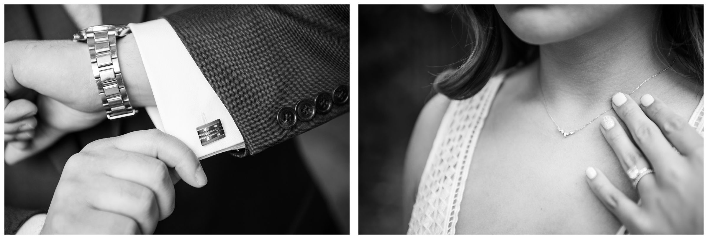 detail of bride's necklace and groom's cufflinks
