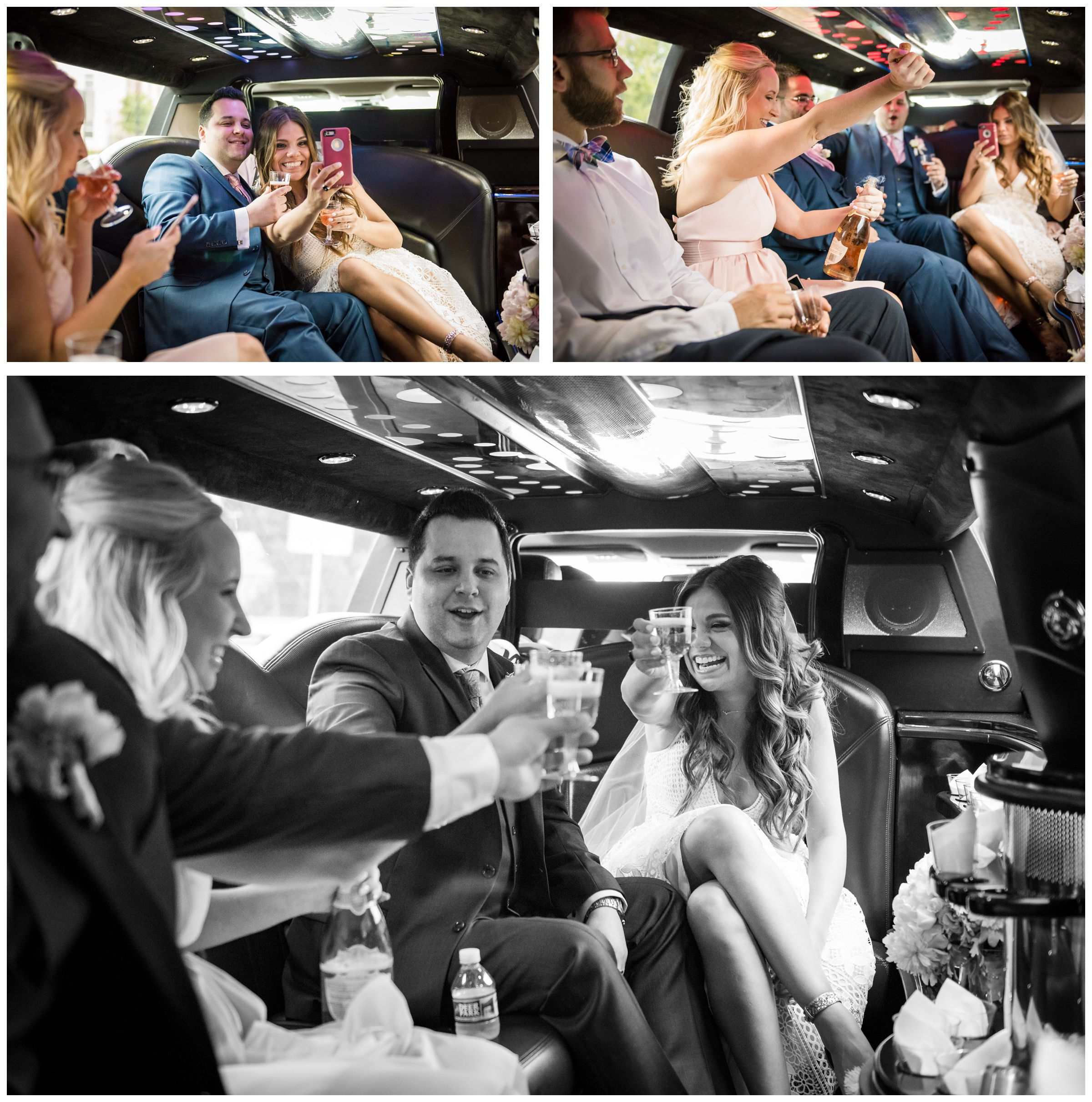 bridal party celebrating in limo in downtown Washington, D.C. after wedding