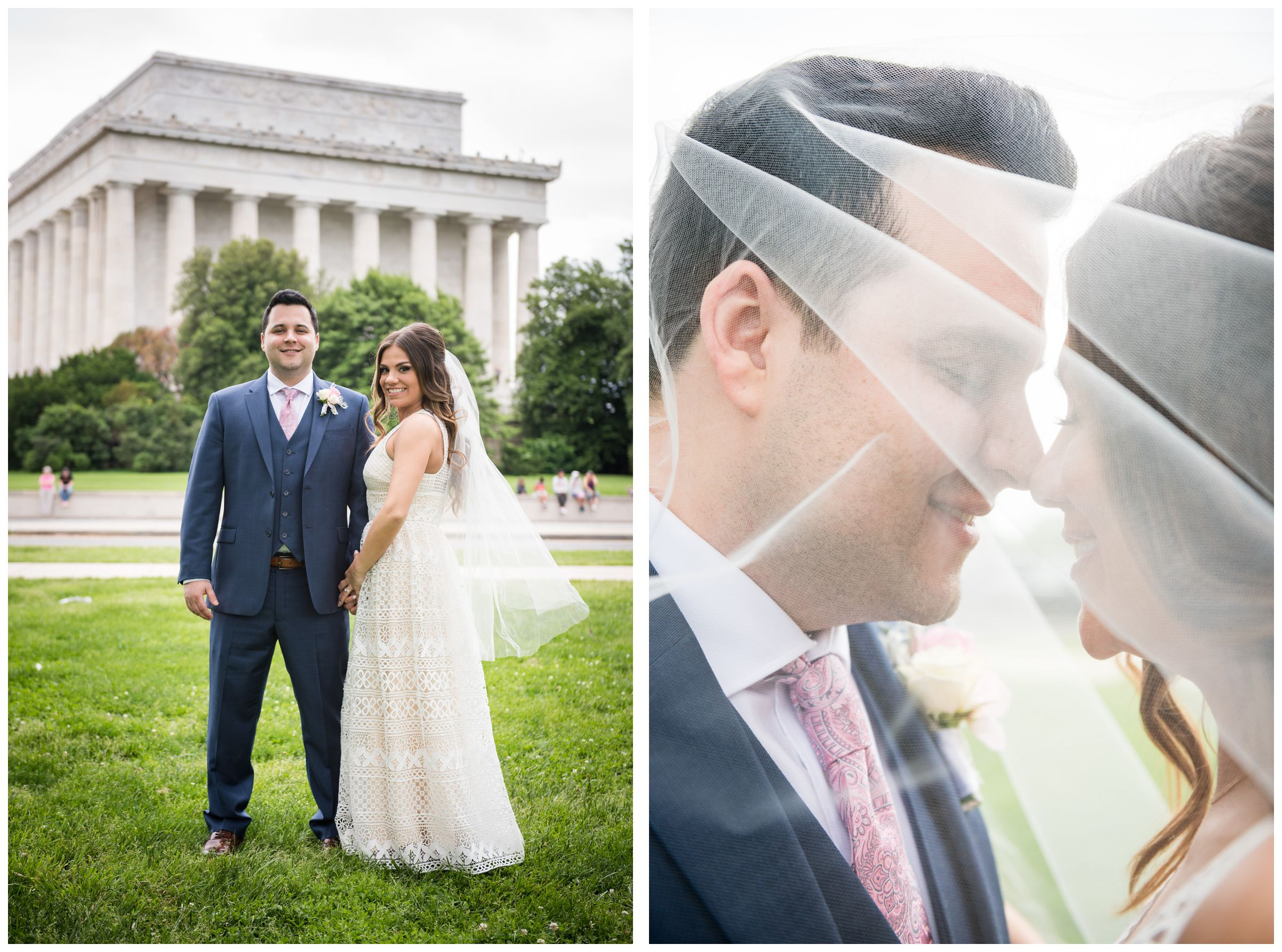 bride and groom in front of Lincoln Memorial during DC monument wedding day