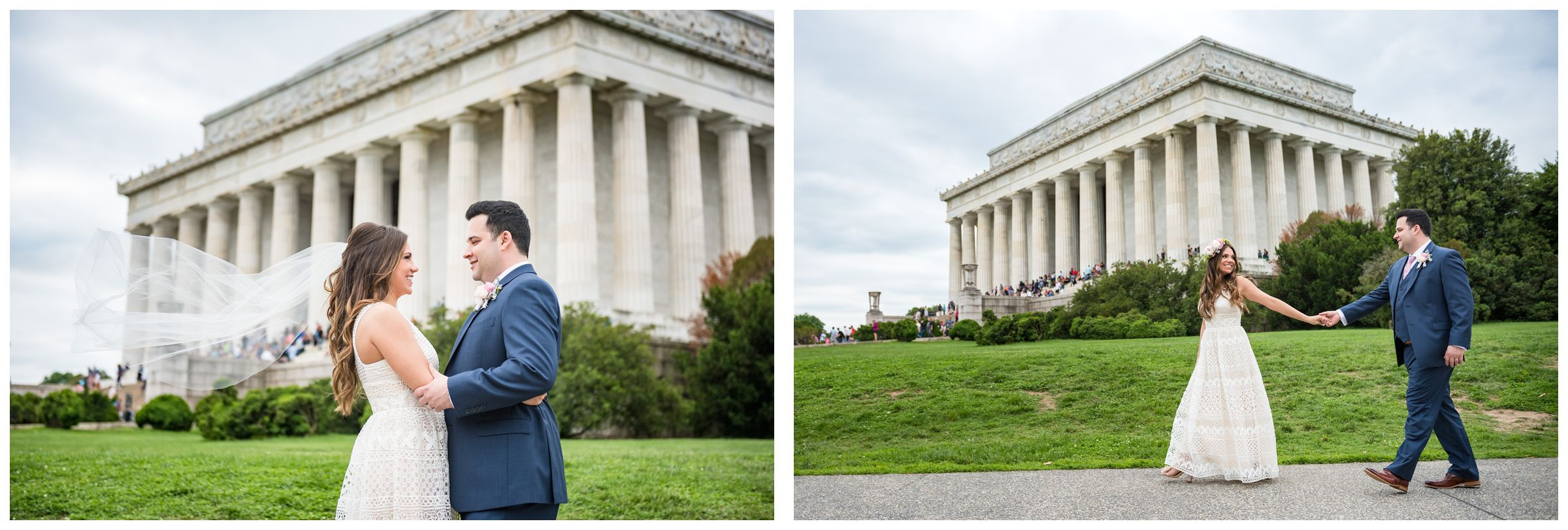 bride and groom in front of Lincoln Memorial during DC monument wedding day in Washington
