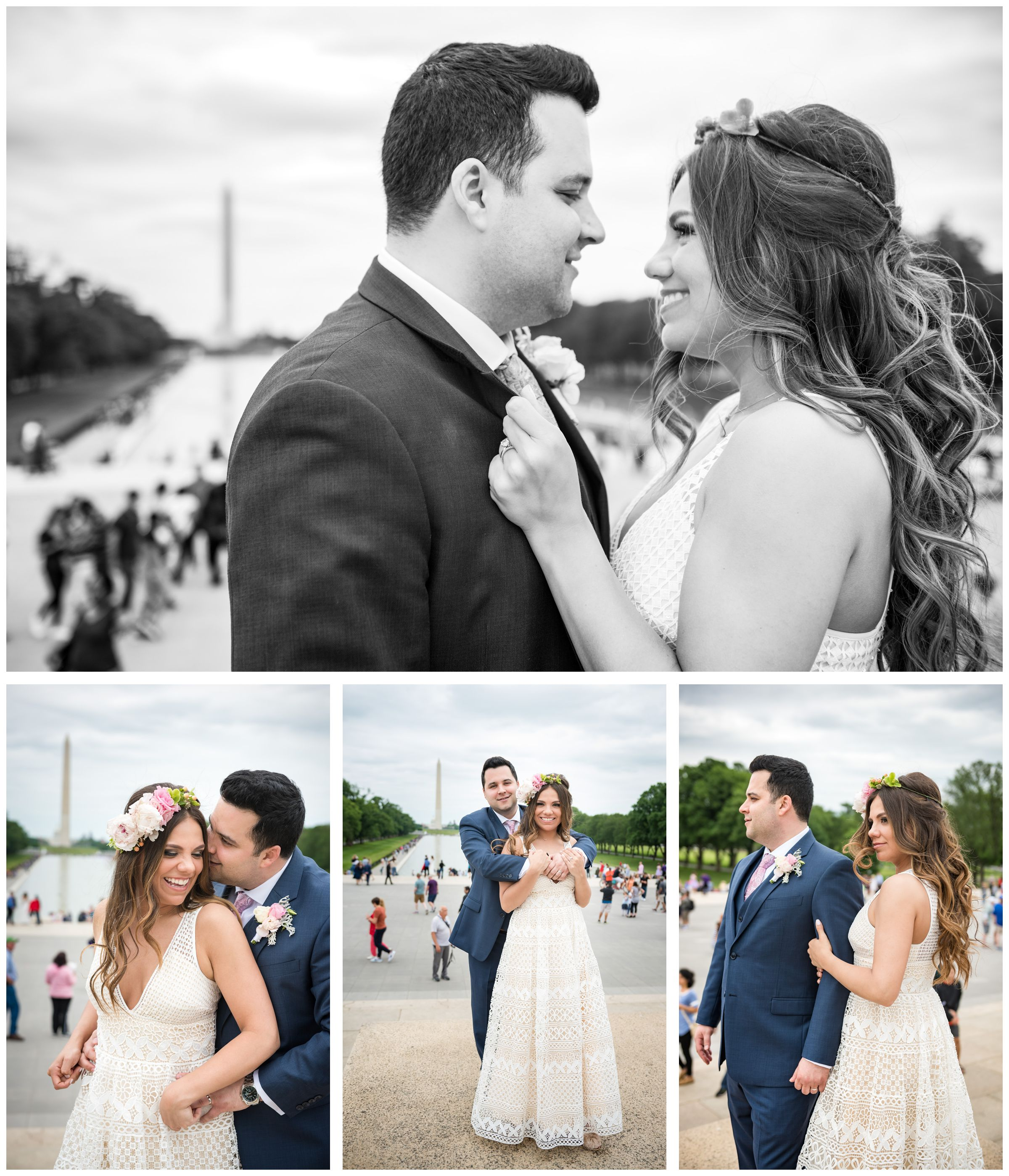 bride and groom portraits in front of reflecting pool and Washington Monument during DC monument wedding day in Washington