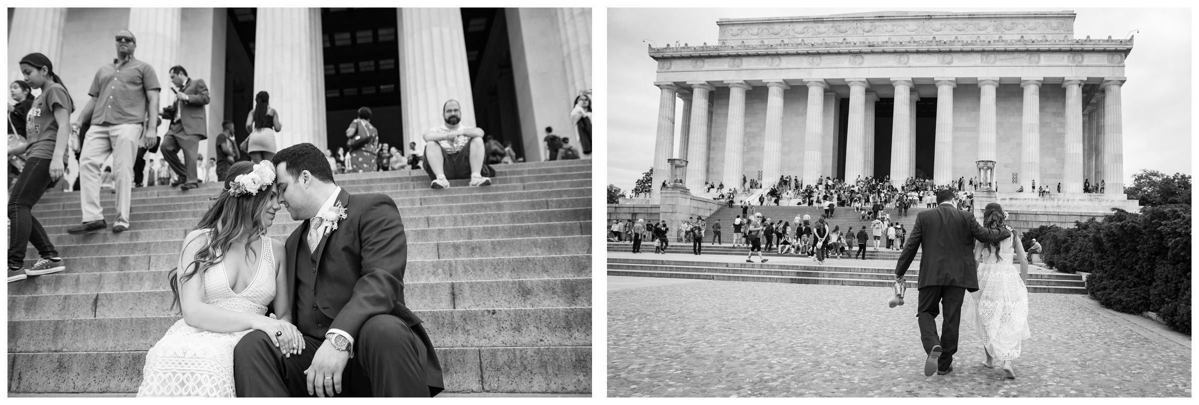 bride and groom portraits at Lincoln Memorial during DC monument wedding day in Washington