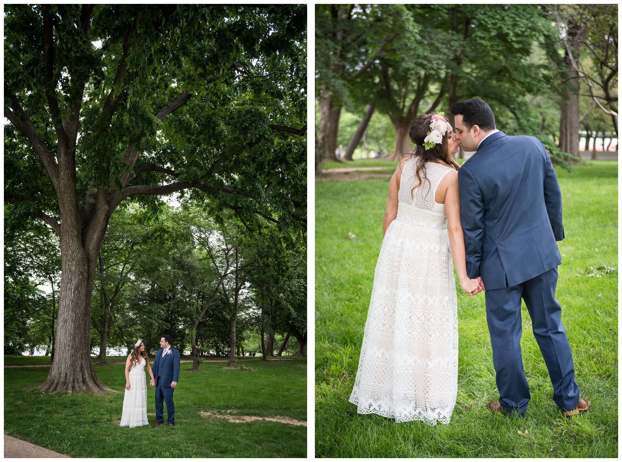 bride and groom portraits on National Mall during wedding day in downtown Washington, D.C.