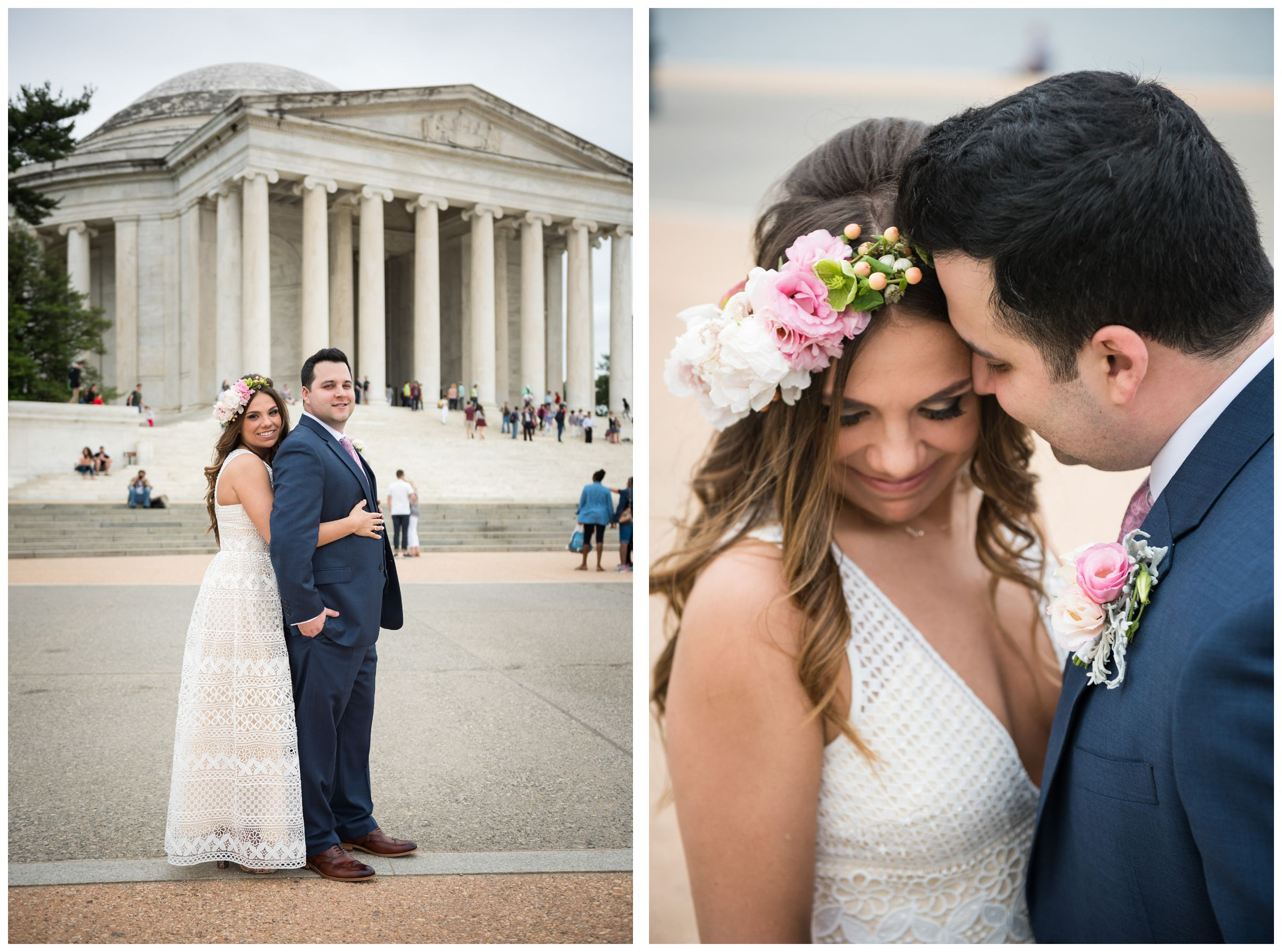bride with flower crown and groom portraits at the Jefferson Memorial during DC monument wedding day in Washington
