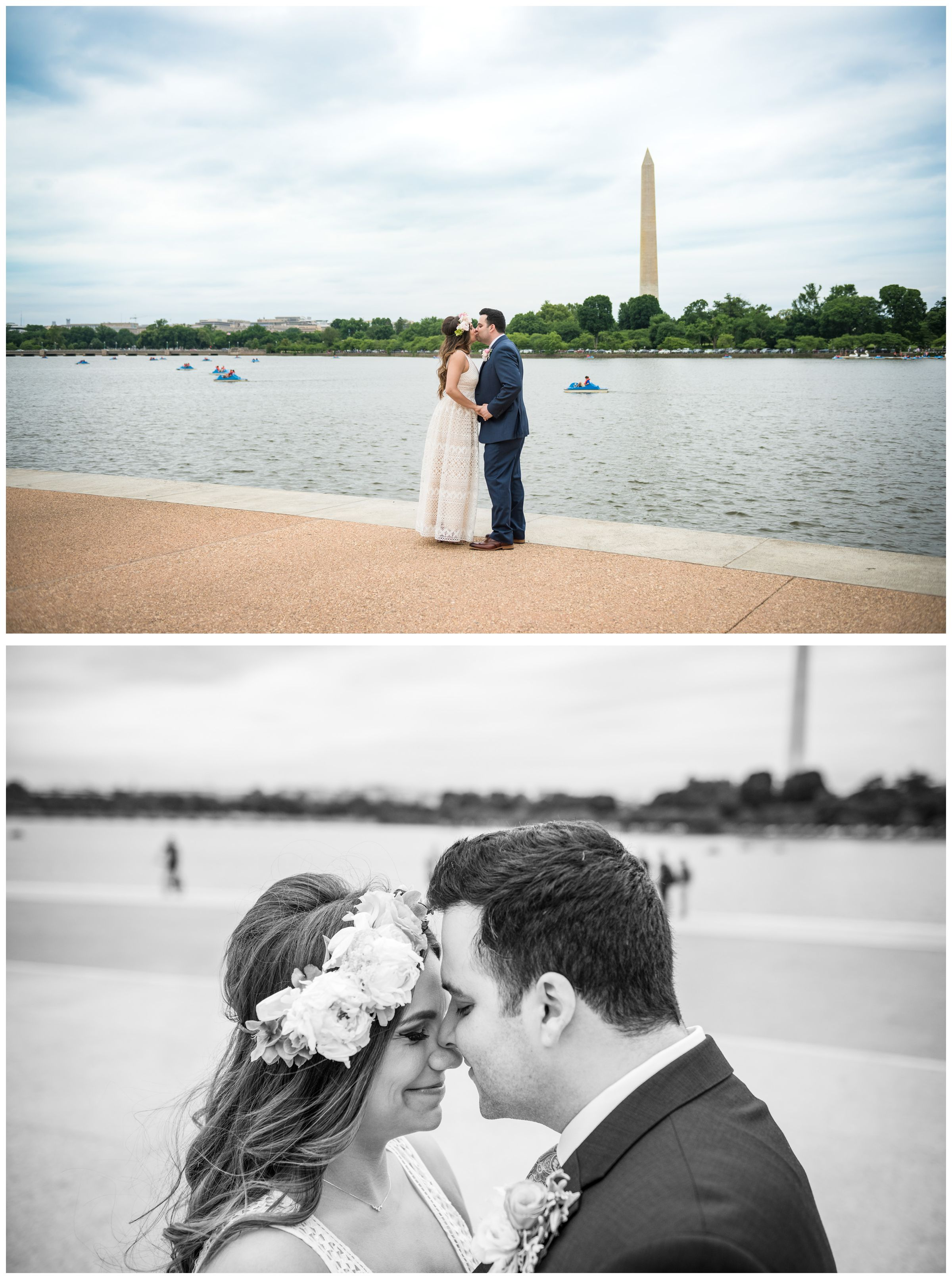 bride with flower crown and groom portraits along tidal basin during DC monument wedding day in Washington