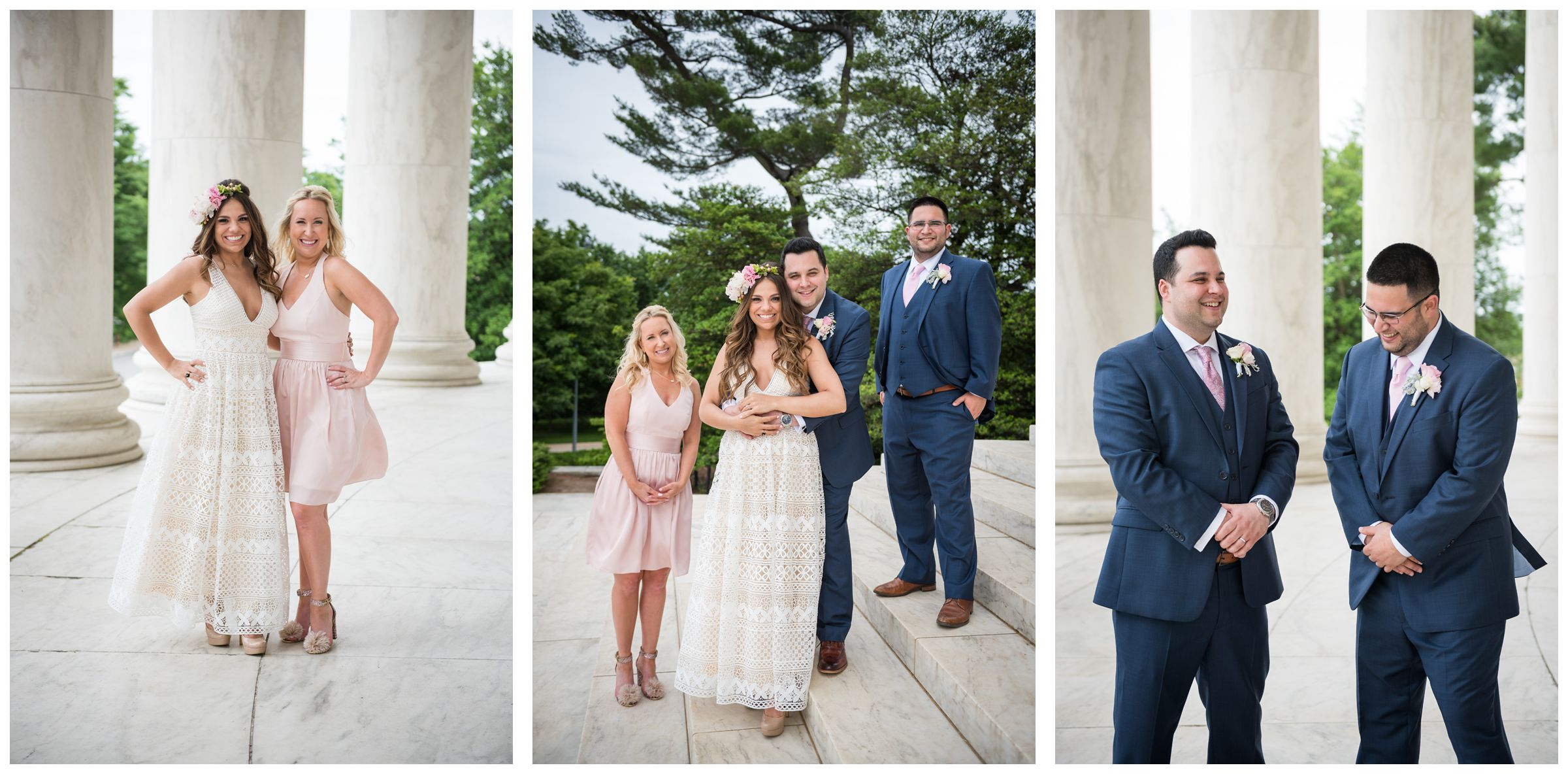 bride and groom with best man and matron of honor at Jefferson Memorial on the National Mall in Washington, D.C.