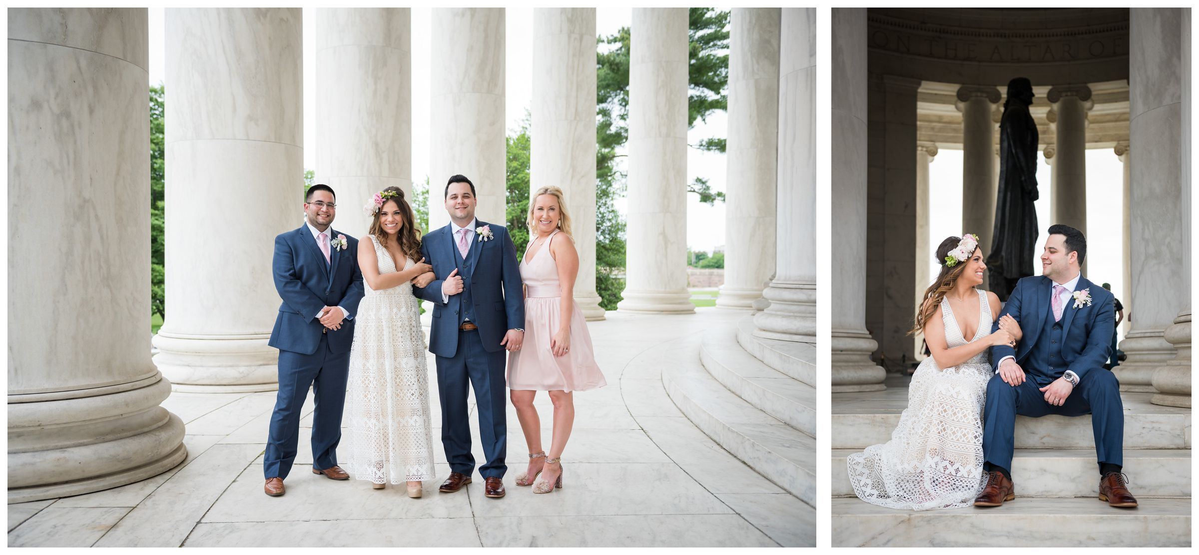 bride and groom with best man and matron of honor amongst columns at Jefferson Memorial on the National Mall in Washington, D.C.