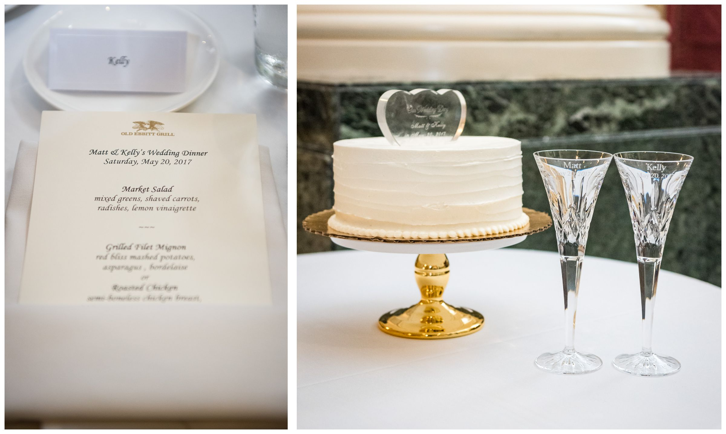 menu, cake with glass topper, and personalized champagne flutes during wedding reception dinner at Old Ebbitt Grill in Washington, D.C.