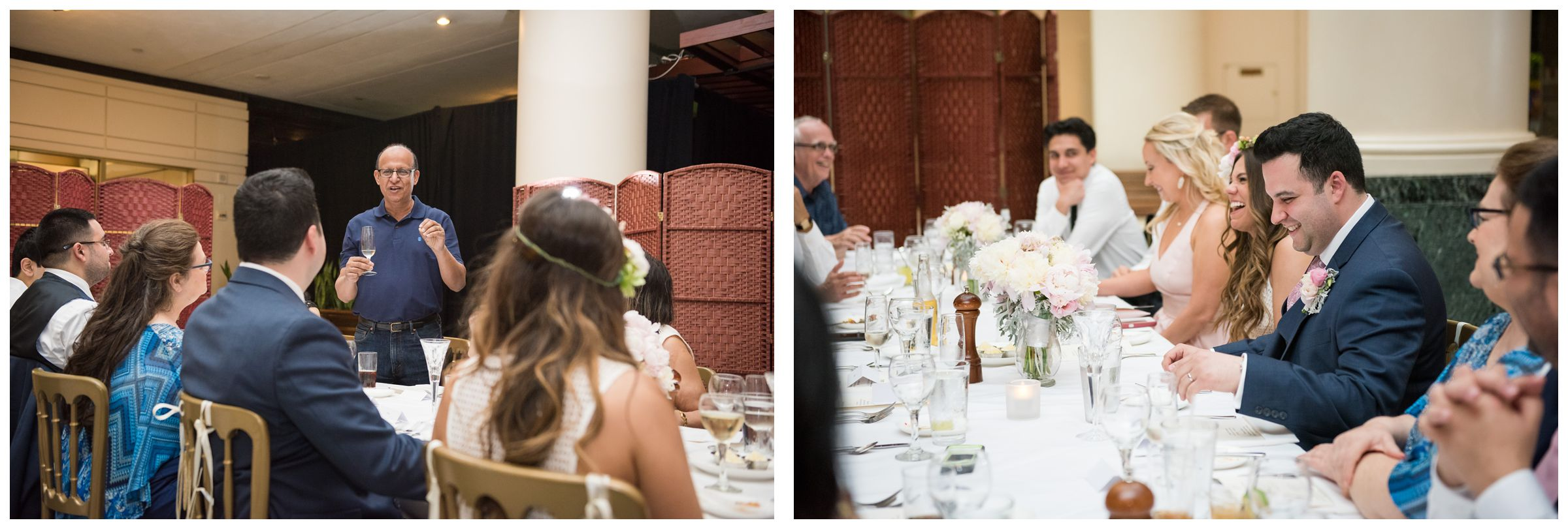 father of the groom giving toast during intimate wedding reception dinner at Old Ebbitt Grill in Washington, D.C.