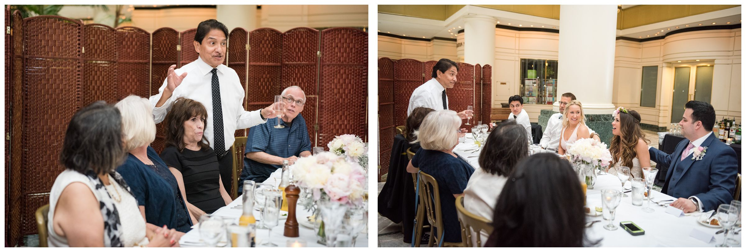 father of the bride giving toast during intimate wedding reception dinner at Old Ebbitt Grill in Washington, D.C.