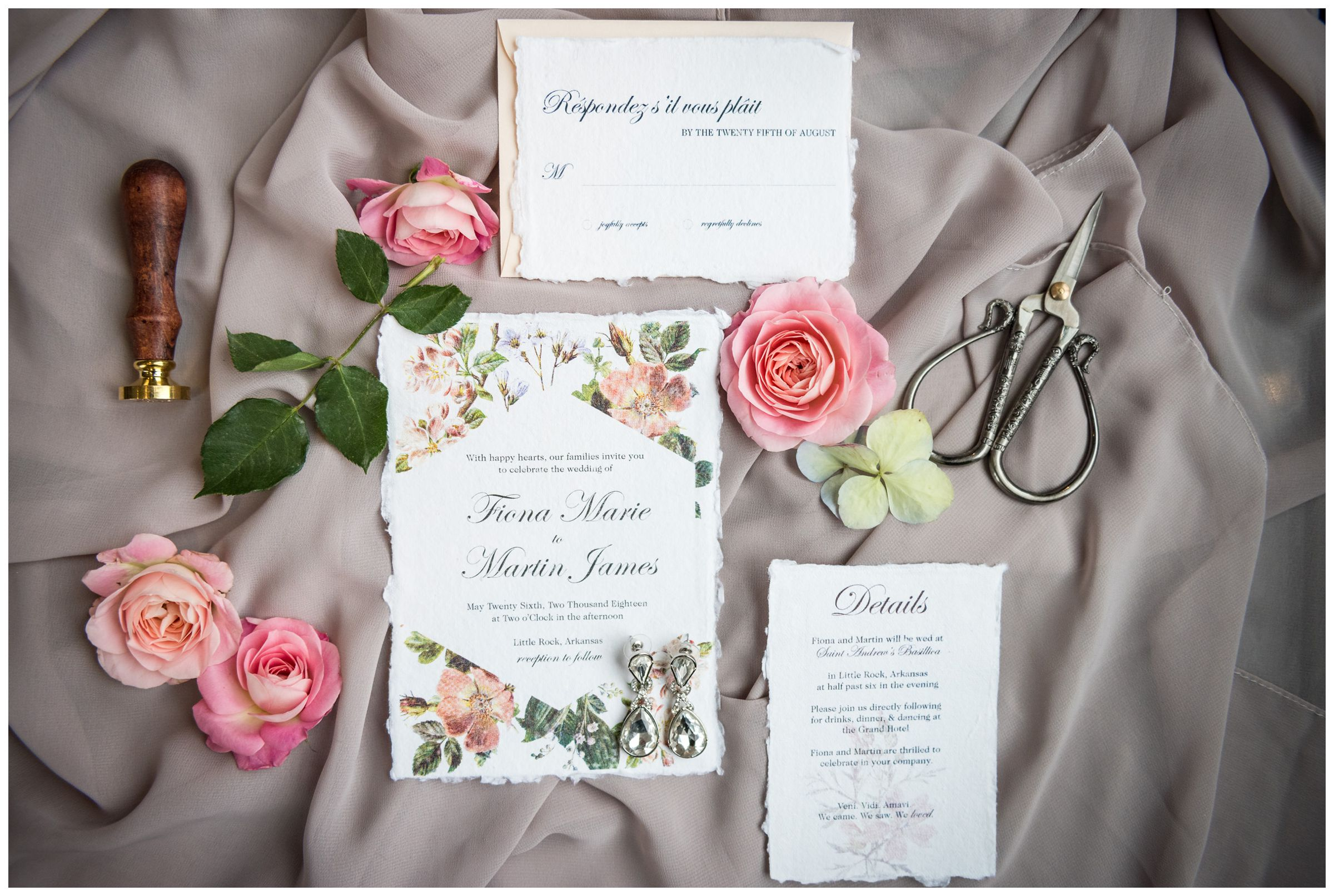 wedding invitation stationery suite with pink flowers
