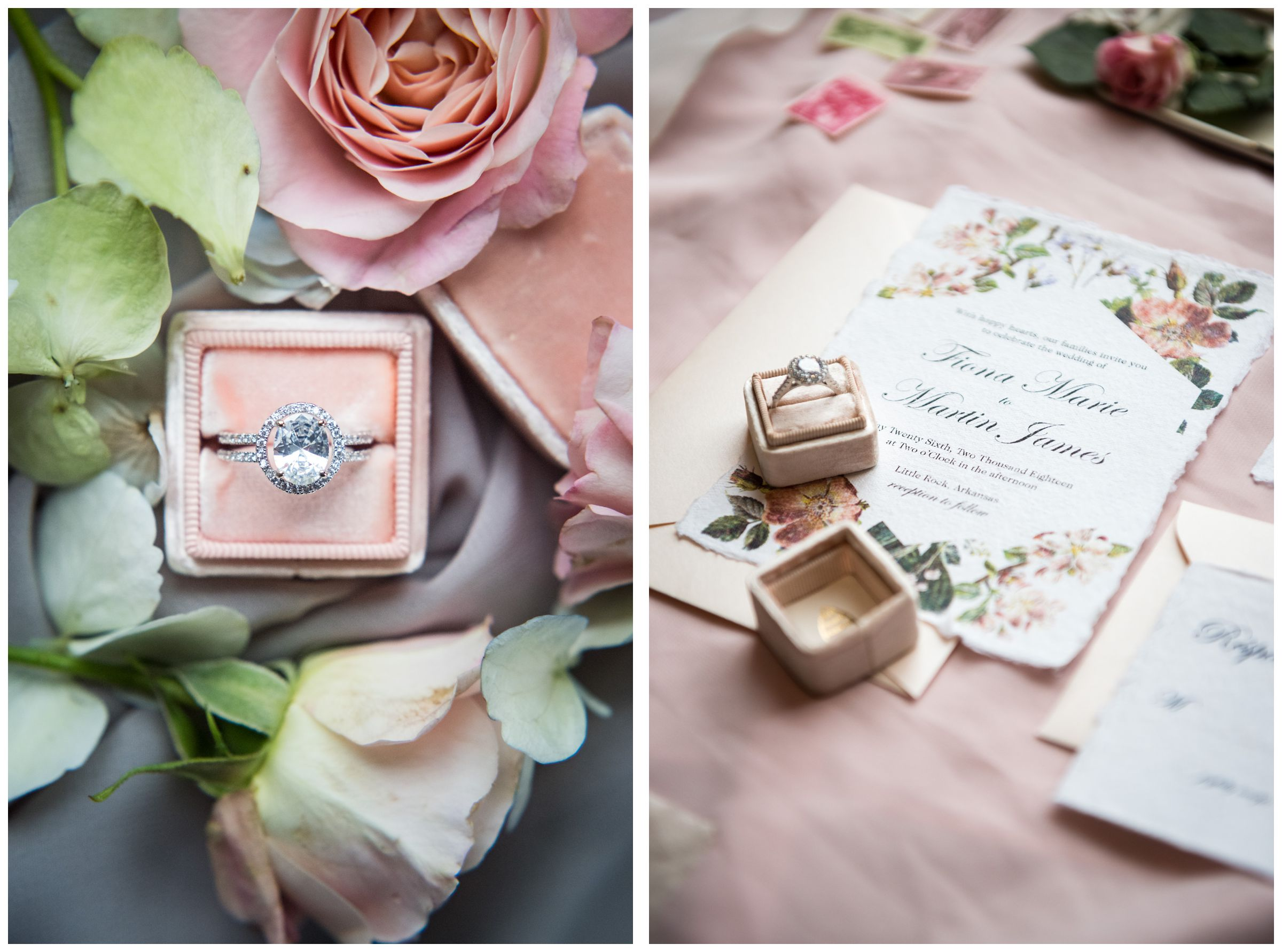 engagement ring in pink box and wedding invitation stationery suite with pink flowers