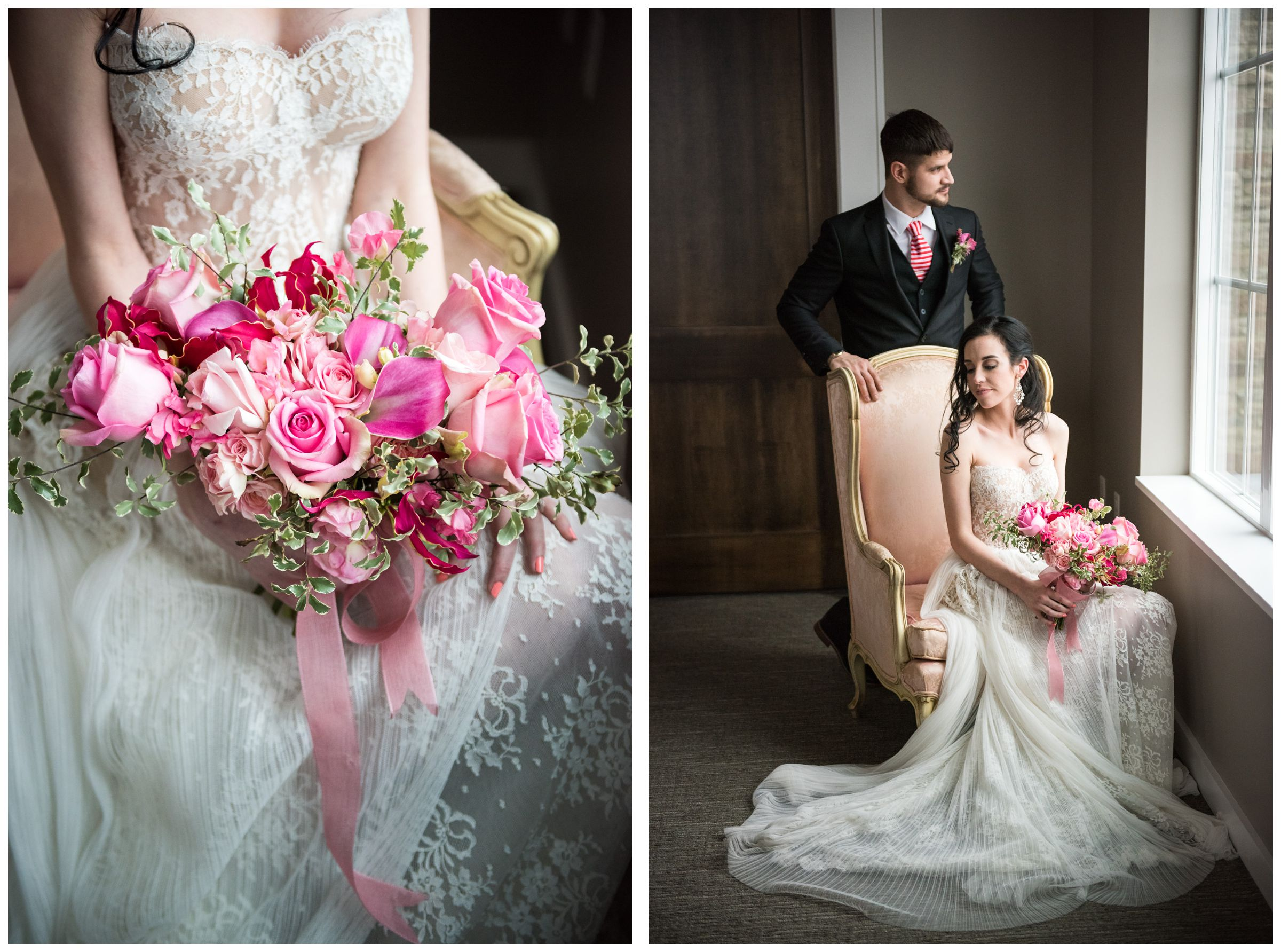bride and groom with pink bouquet in window light