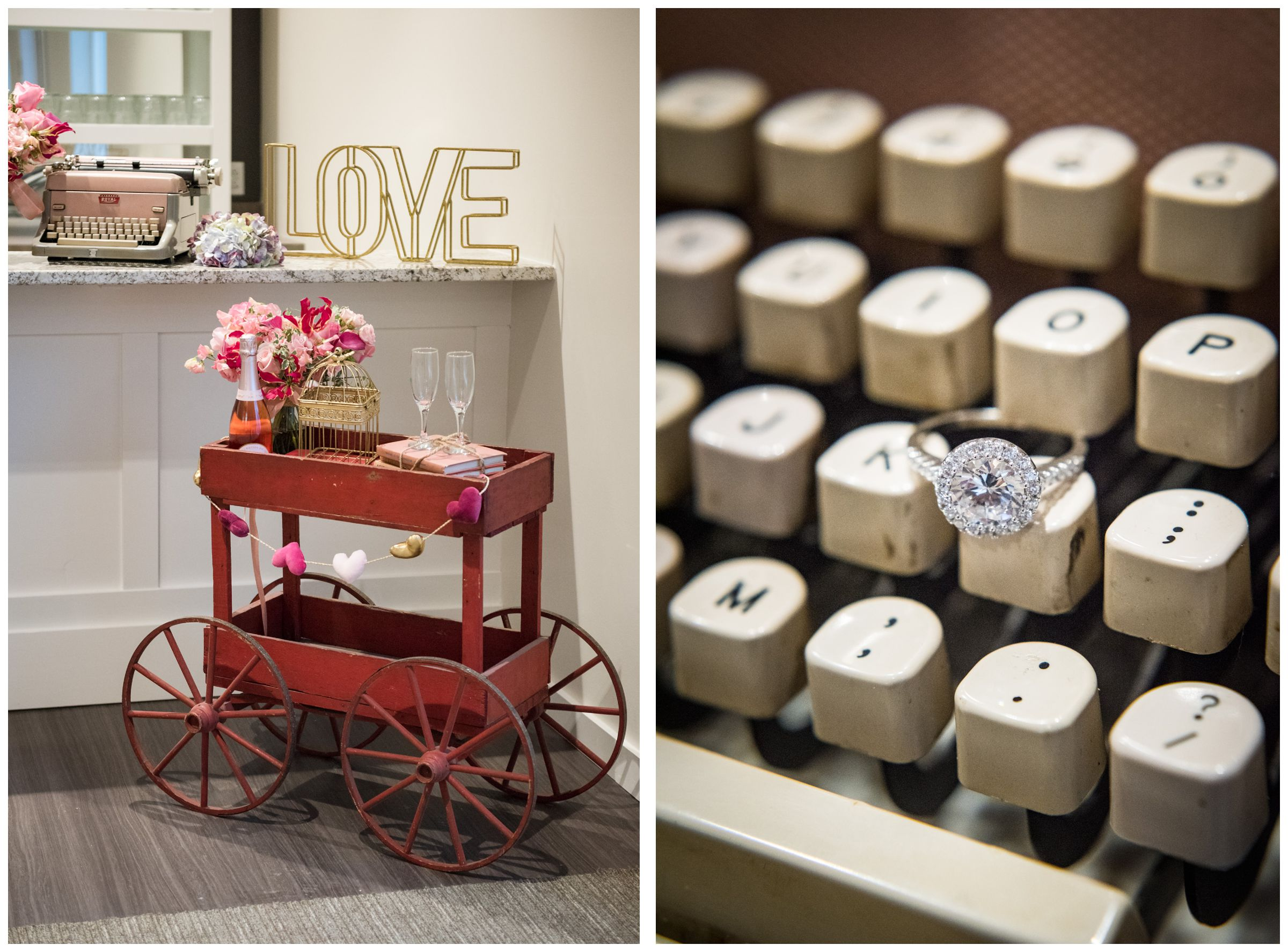 wedding bar cart and engagement ring on typewriter